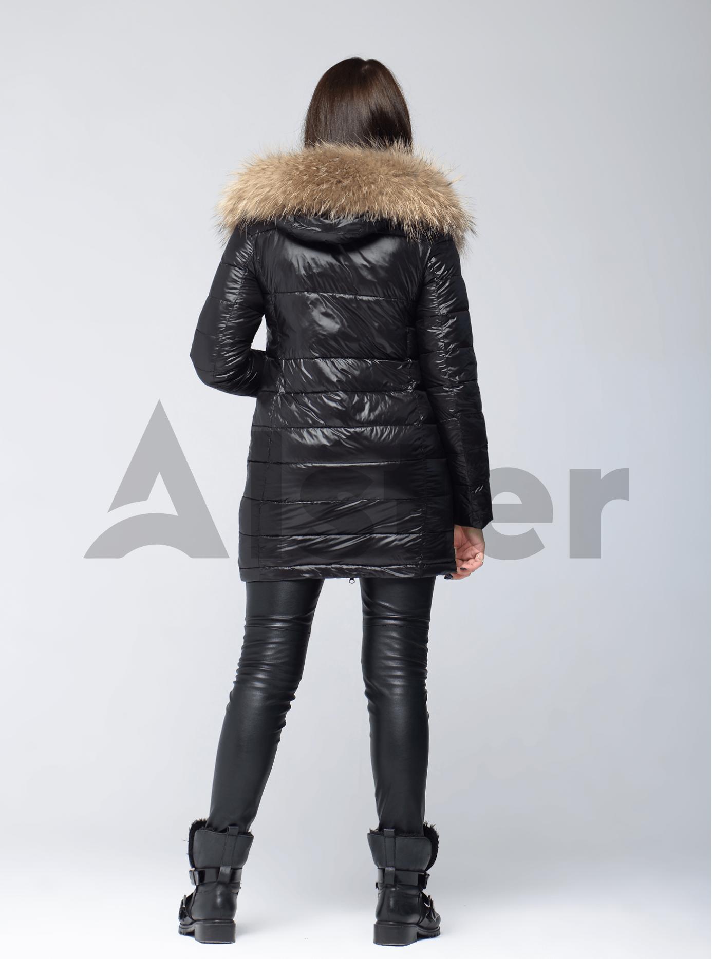 Куртка зимняя длинная двойная с мехом енота Чёрный L (05-V191260): фото - Alster.ua