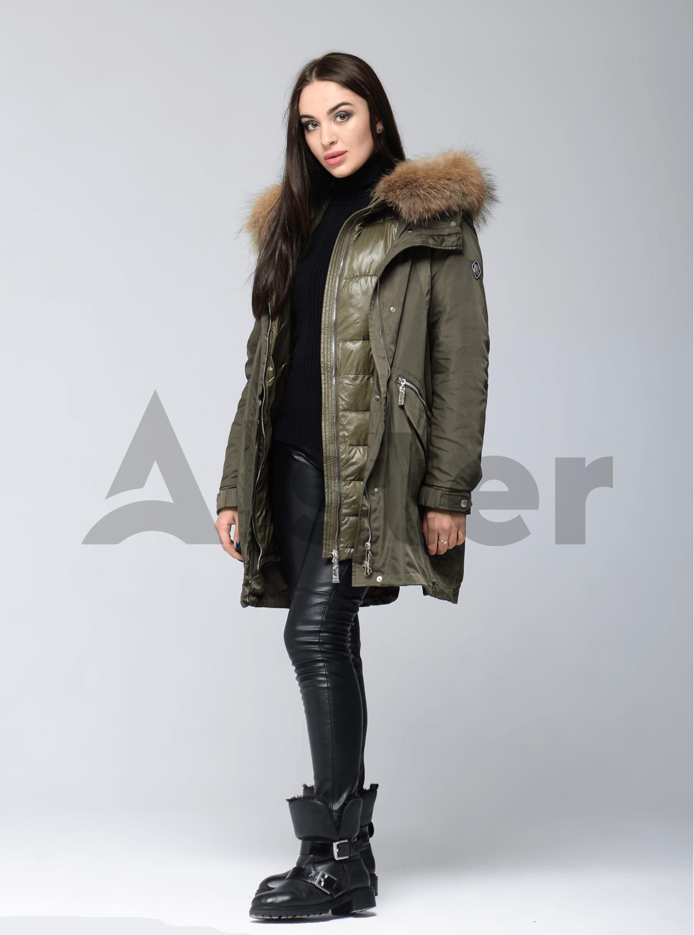 Куртка зимняя длинная двойная с мехом енота Хаки XL (05-V191264): фото - Alster.ua