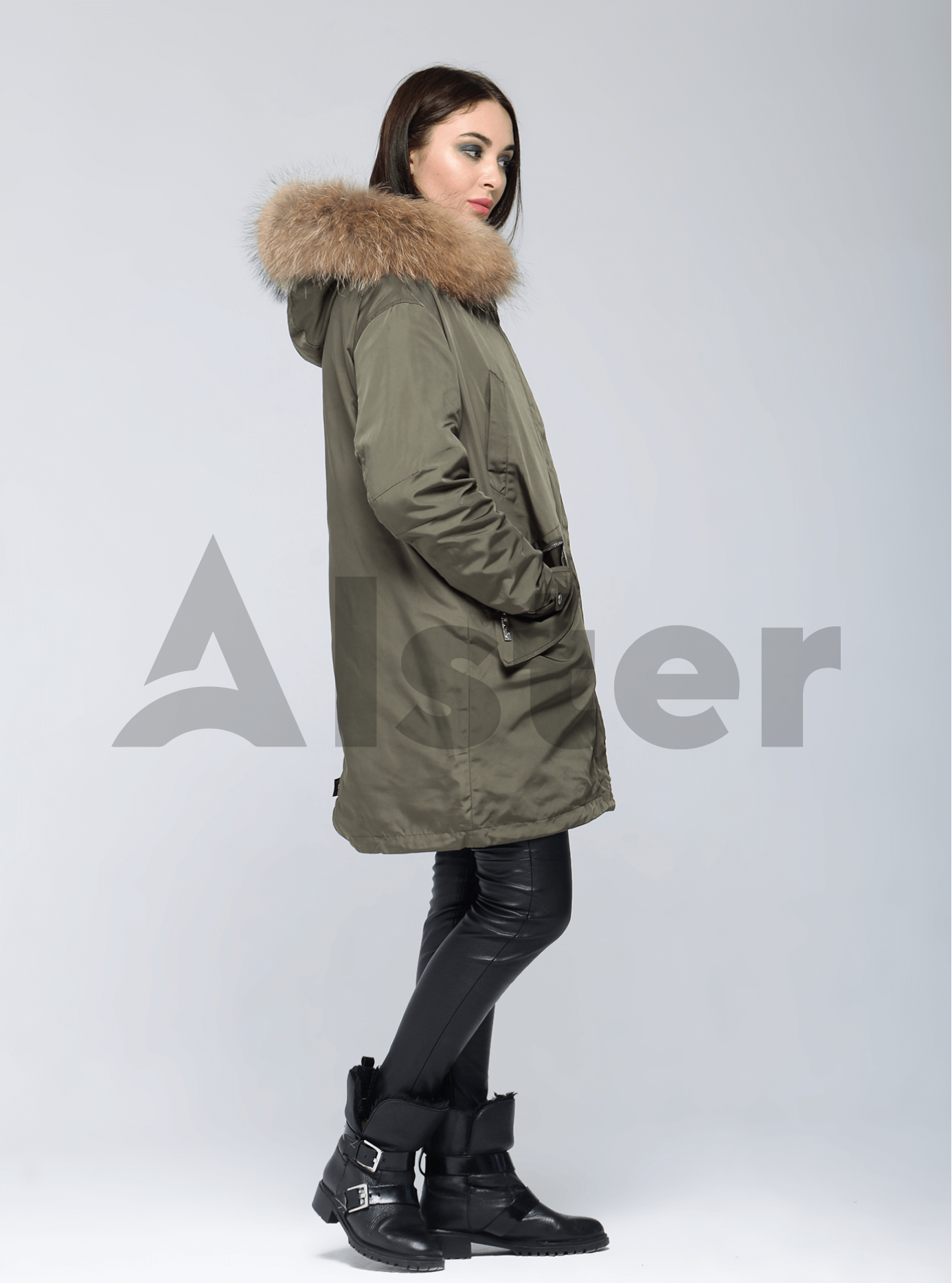 Куртка зимняя длинная двойная с мехом енота Хаки M (05-V191262): фото - Alster.ua
