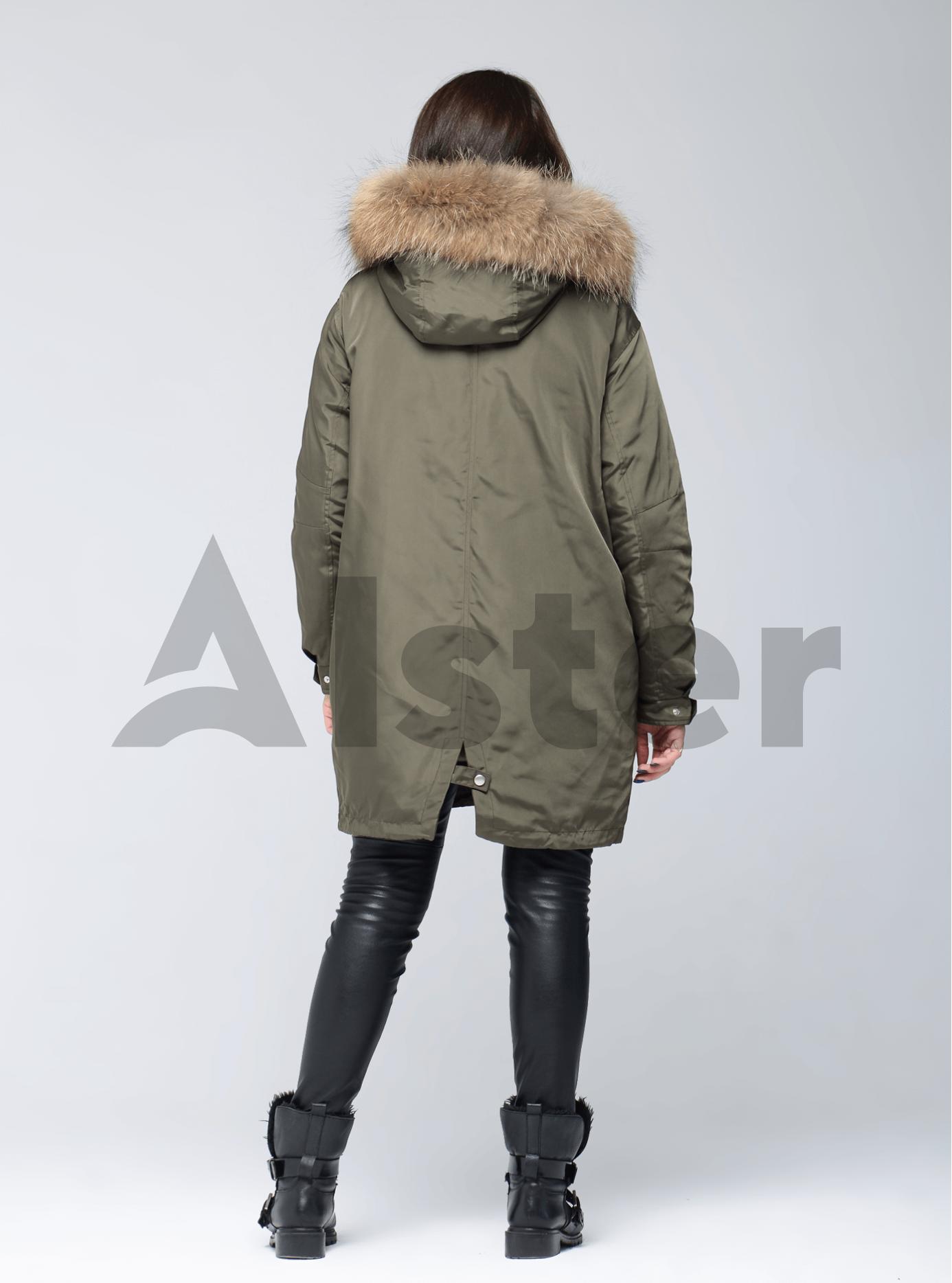 Куртка зимняя длинная двойная с мехом енота Хаки L (05-V191263): фото - Alster.ua