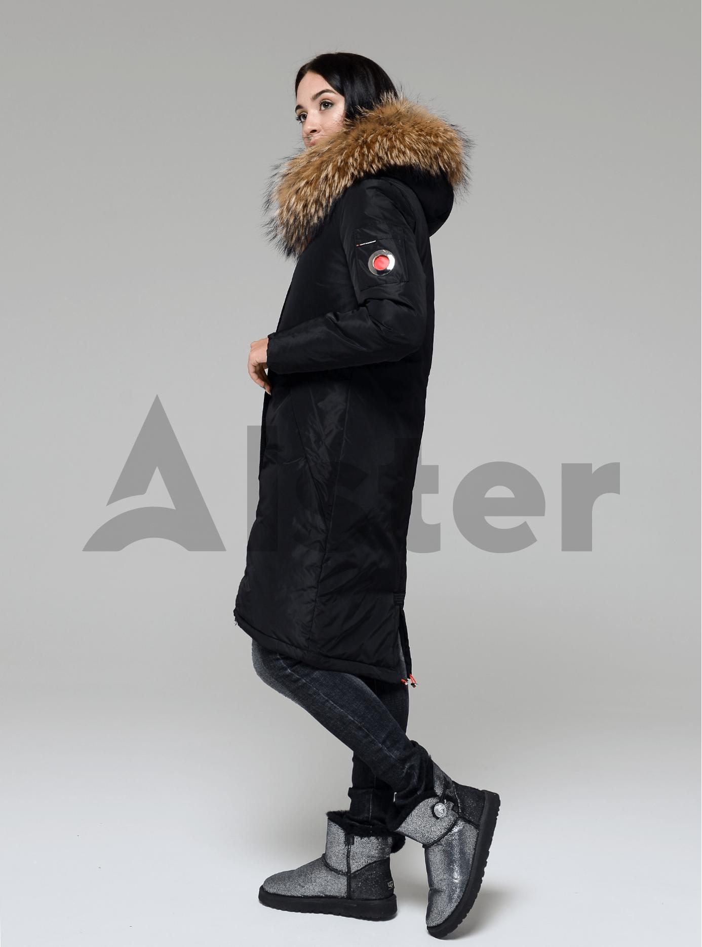 Куртка зимняя длинная со съемным мехом енота Чёрный S (05-V191203): фото - Alster.ua