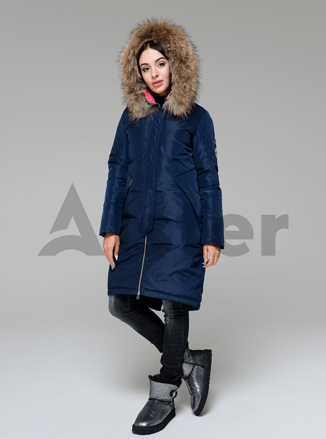 Куртка зимняя длинная со съемным мехом енота Синий S (05-V191200): фото - Alster.ua