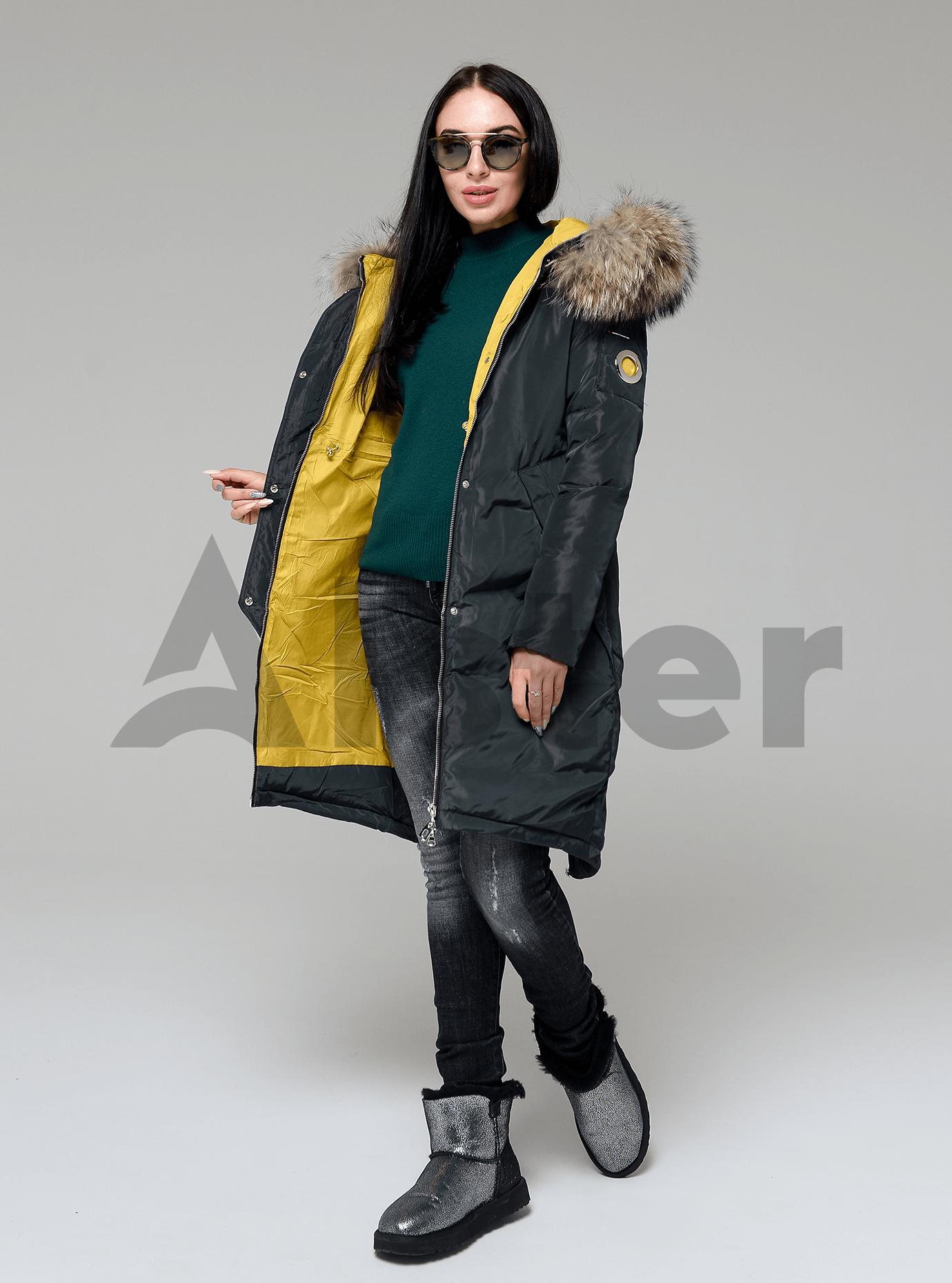 Куртка зимняя длинная со съемным мехом енота Тёмно-зелёный S (05-V191282): фото - Alster.ua