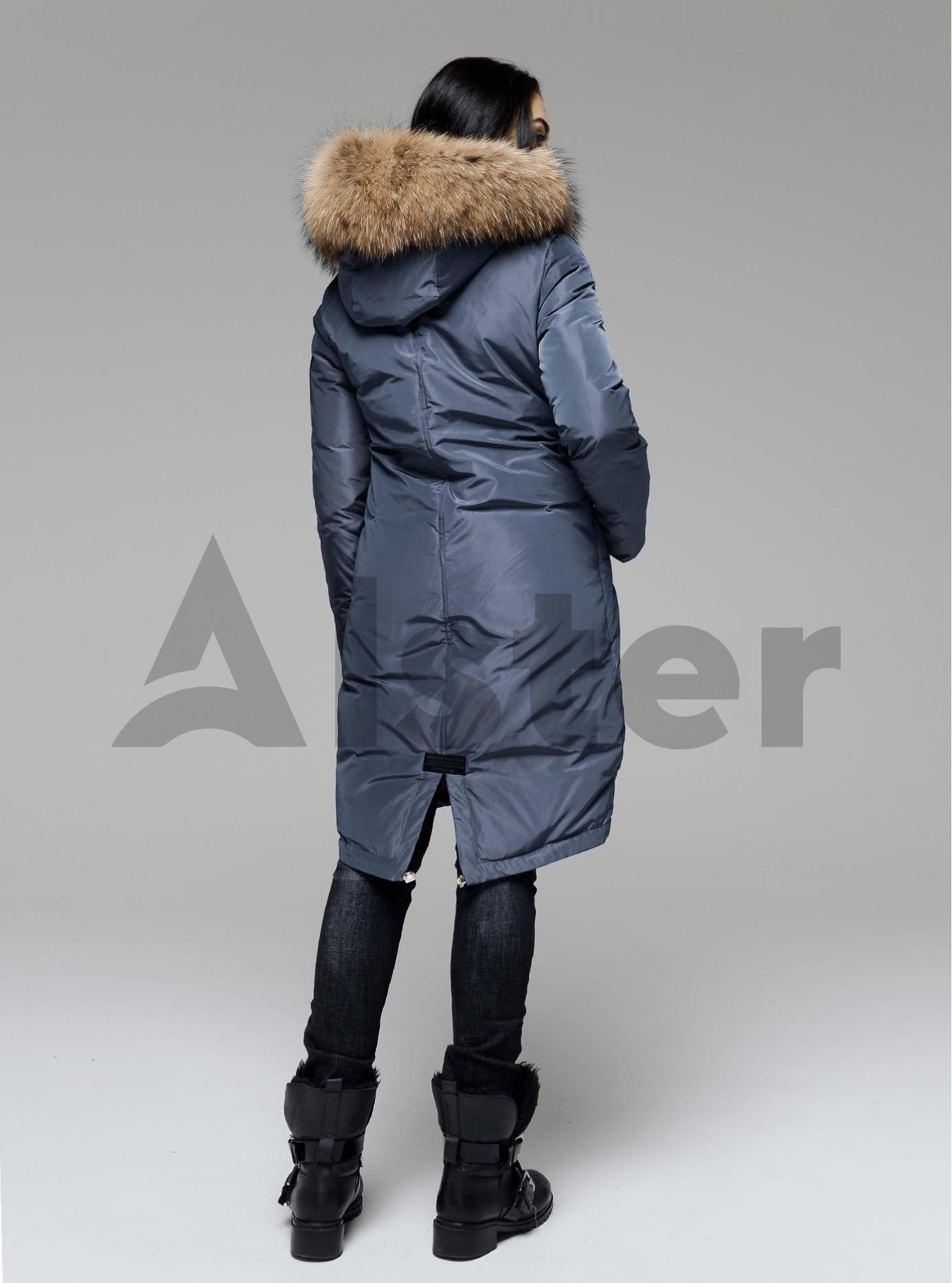 Куртка зимняя длинная со съемным мехом енота Графитовый S (05-V191196): фото - Alster.ua