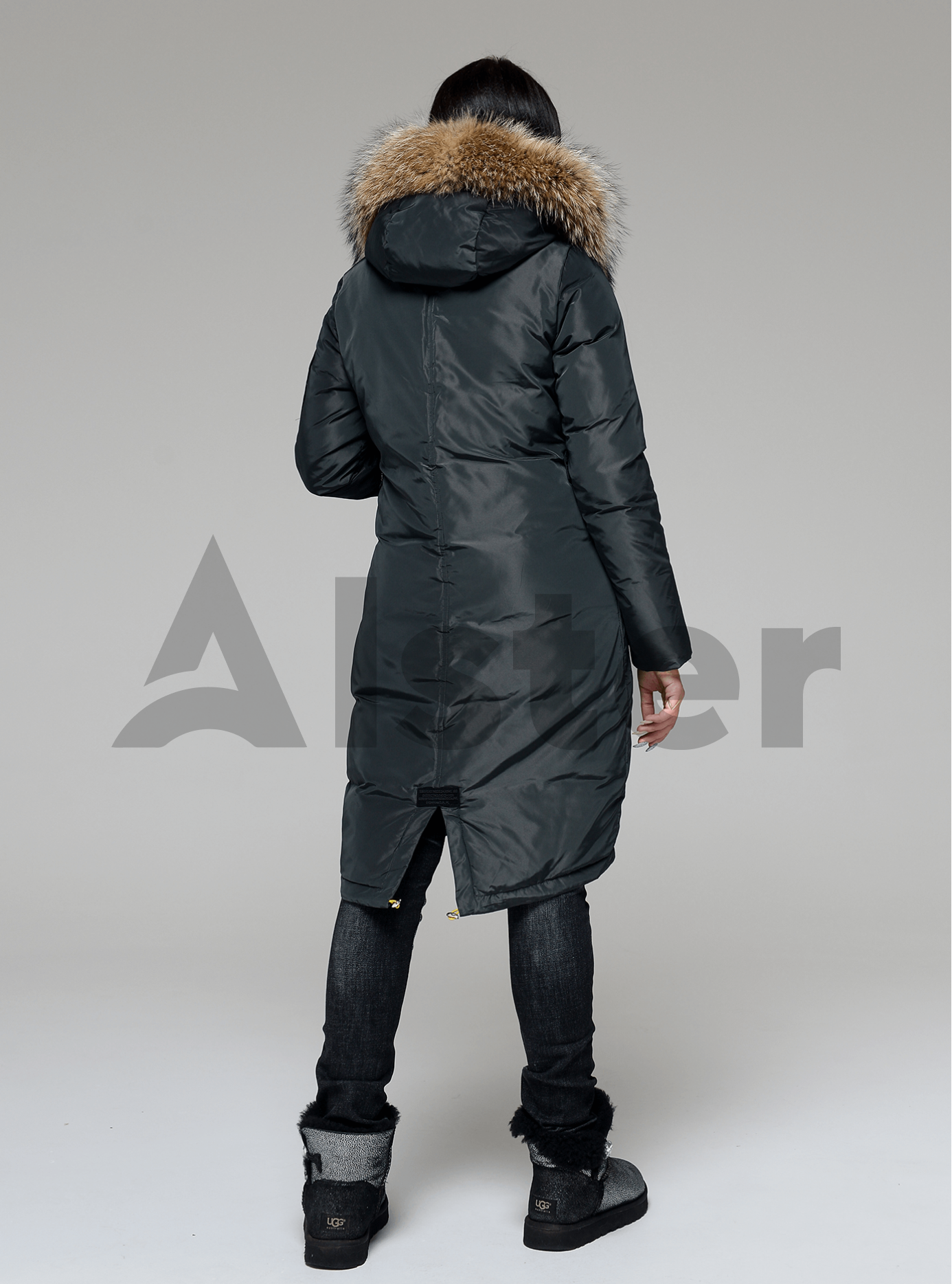 Куртка зимняя длинная со съемным мехом енота Тёмно-зелёный S (05-V191205): фото - Alster.ua