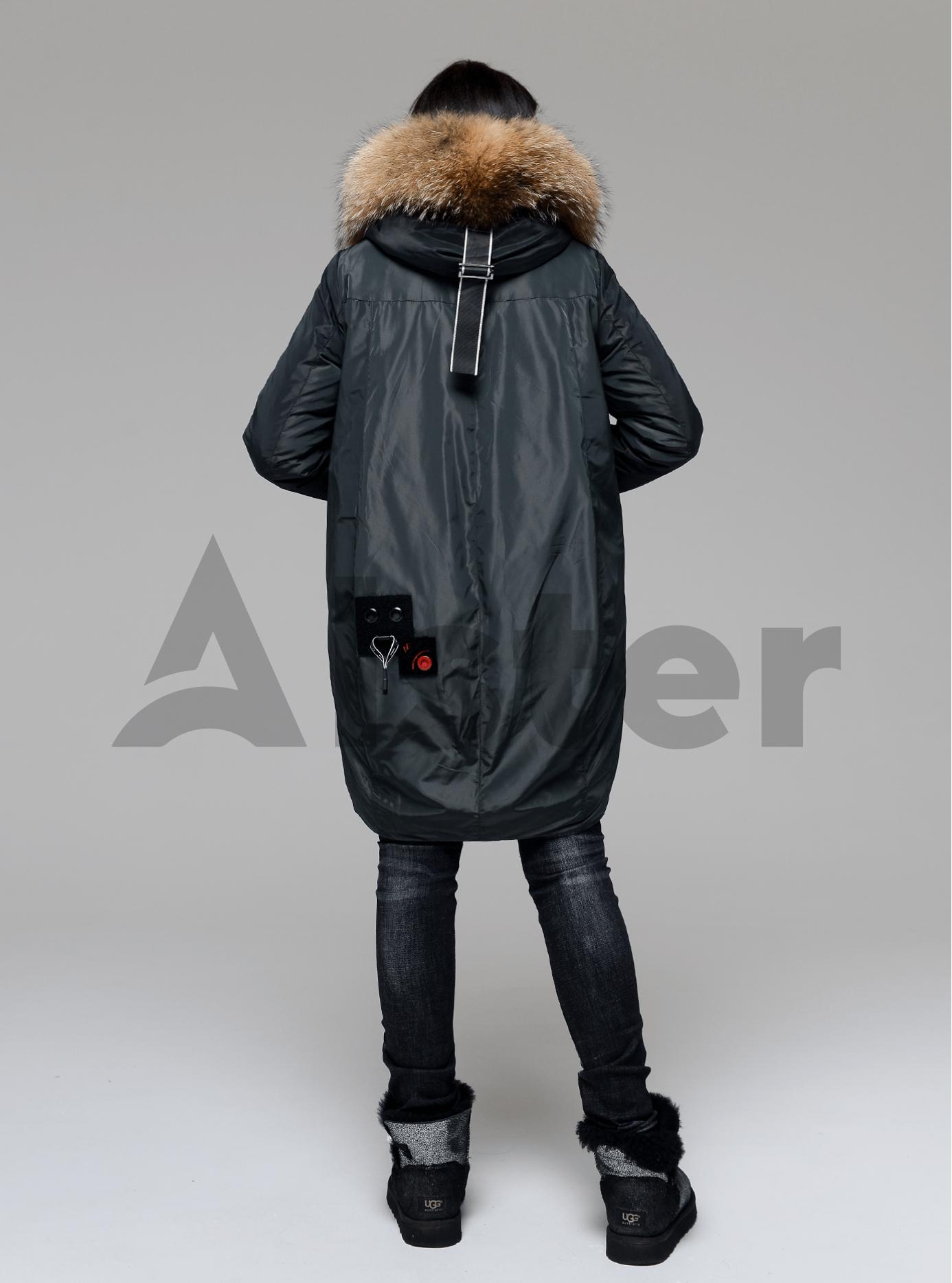 Куртка зимняя длинная со вставкой из меха енота Тёмно-зелёный S (05-V191216): фото - Alster.ua