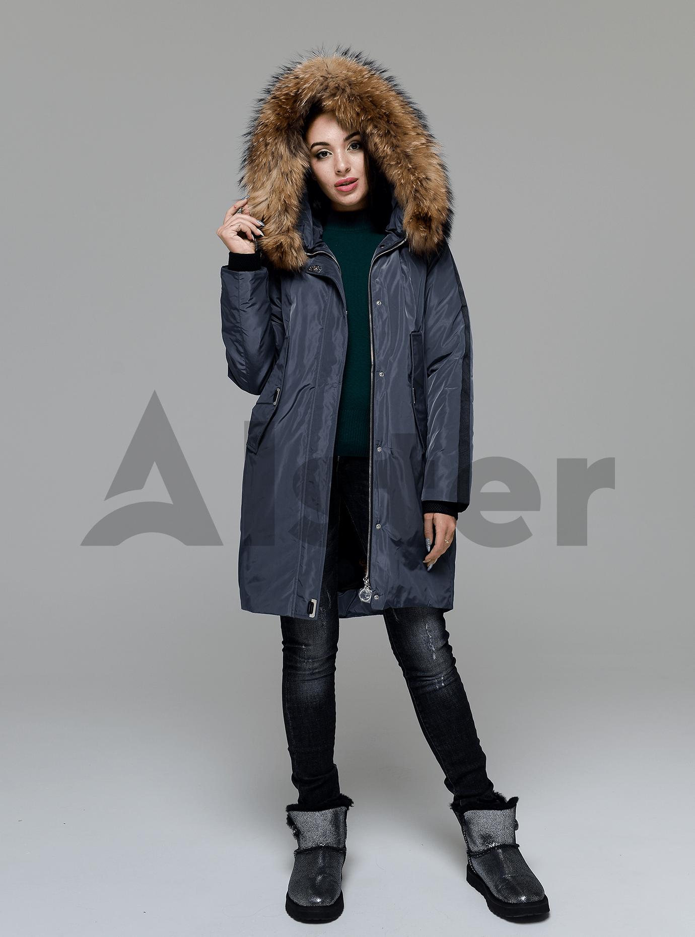 Куртка зимняя длинная со вставкой из меха енота Графитовый M (05-V191207): фото - Alster.ua