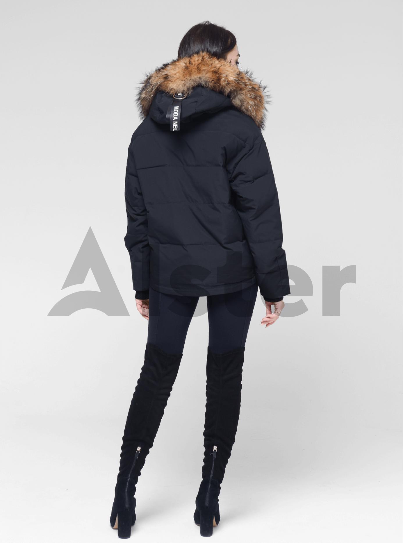 Куртка зимняя короткая с мехом енота Чёрный M (05-V191222): фото - Alster.ua