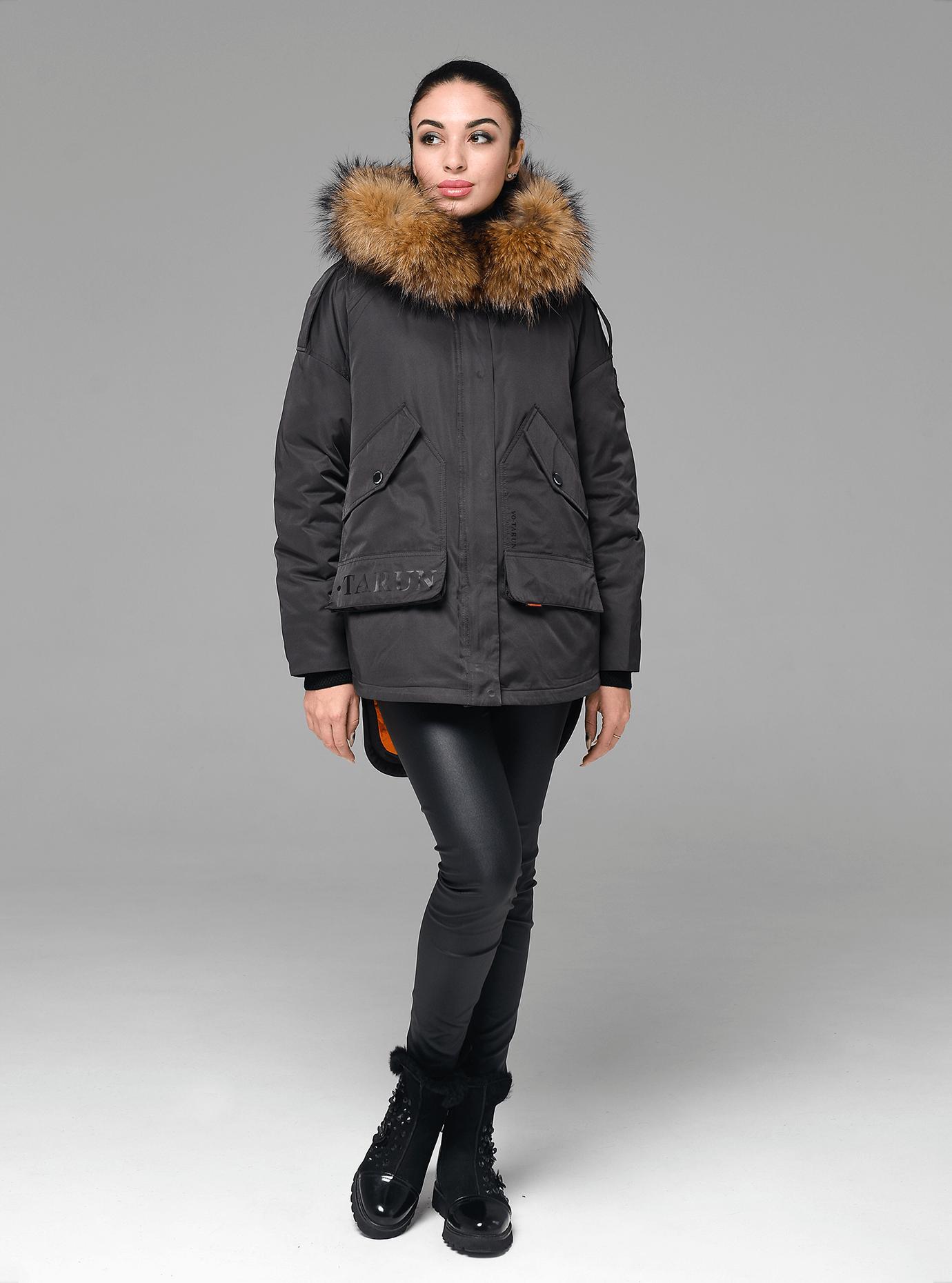 Зимова куртка-парка з хутром єнота Чорний L (05-V191229): фото - Alster.ua