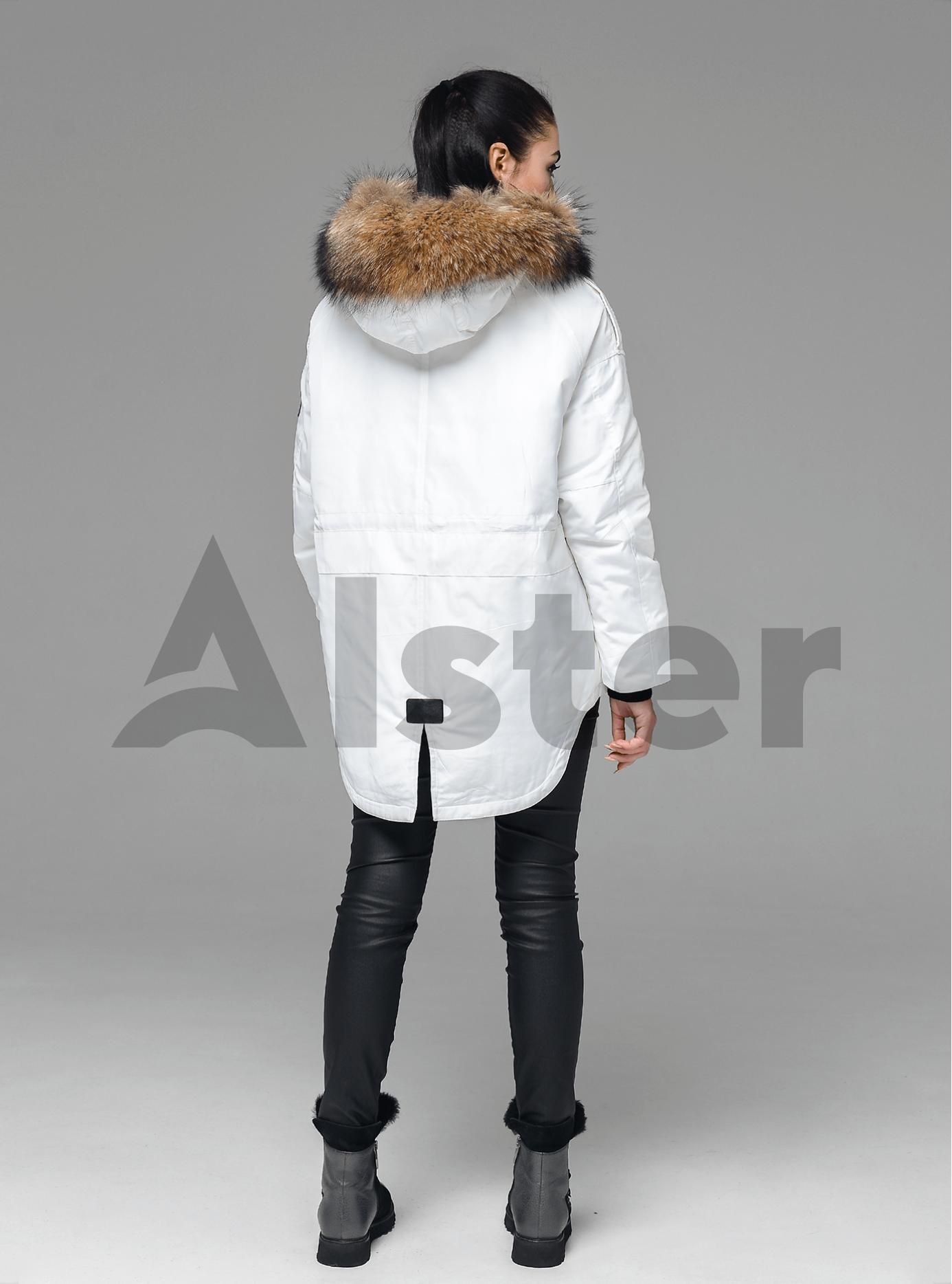 Зимняя куртка-парка с мехом енота Белый L (05-V191227): фото - Alster.ua