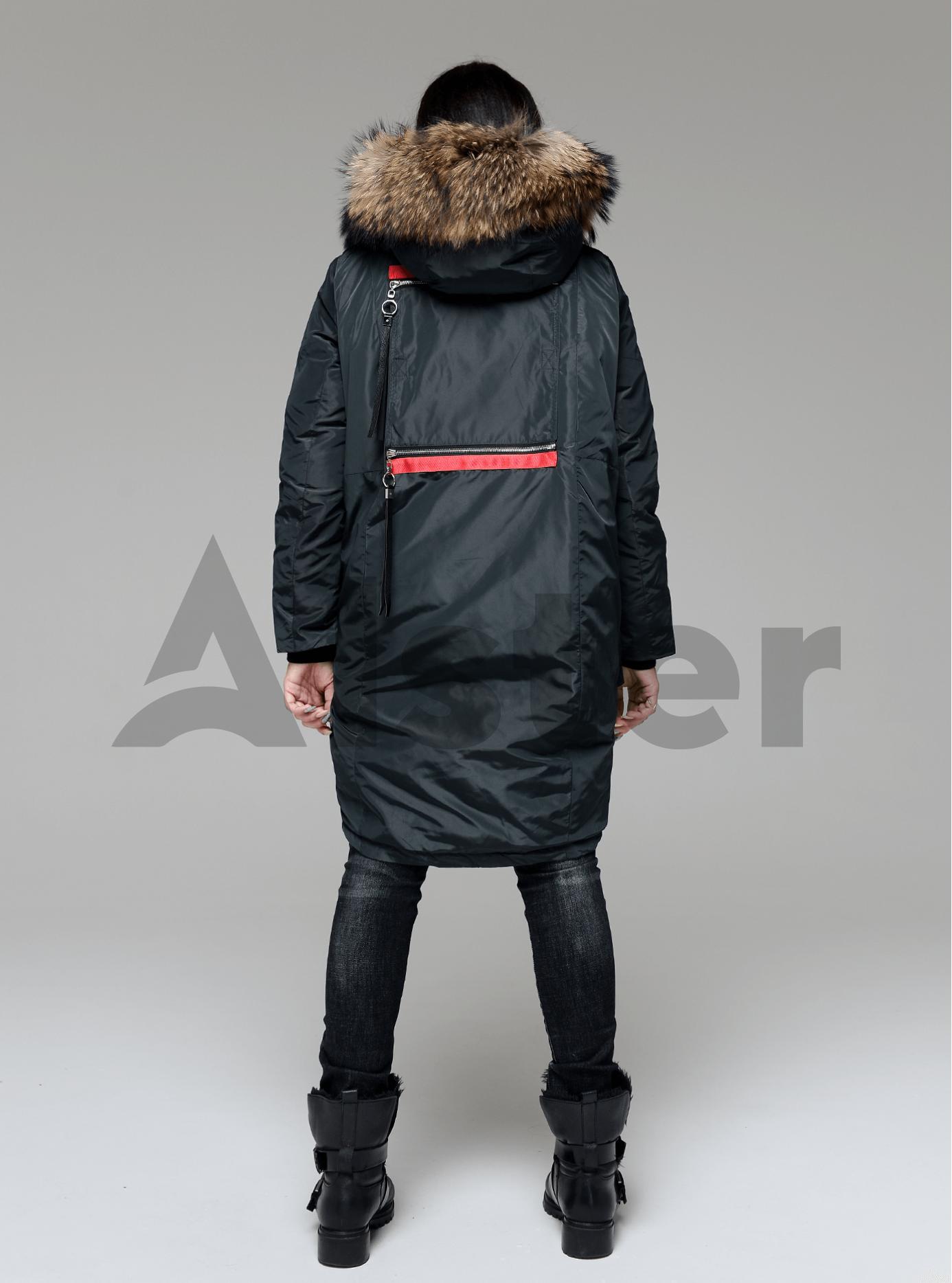 Куртка зимняя длинная с накладными карманами и мехом енота Тёмно-зелёный S (05-V191236): фото - Alster.ua