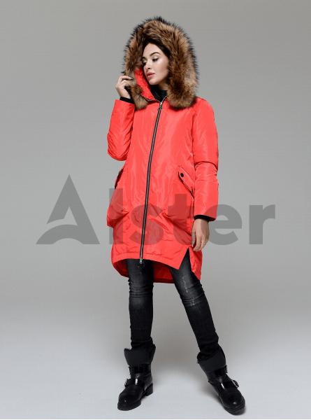 Куртка зимова довга з накладними кишенями і хутром єнота