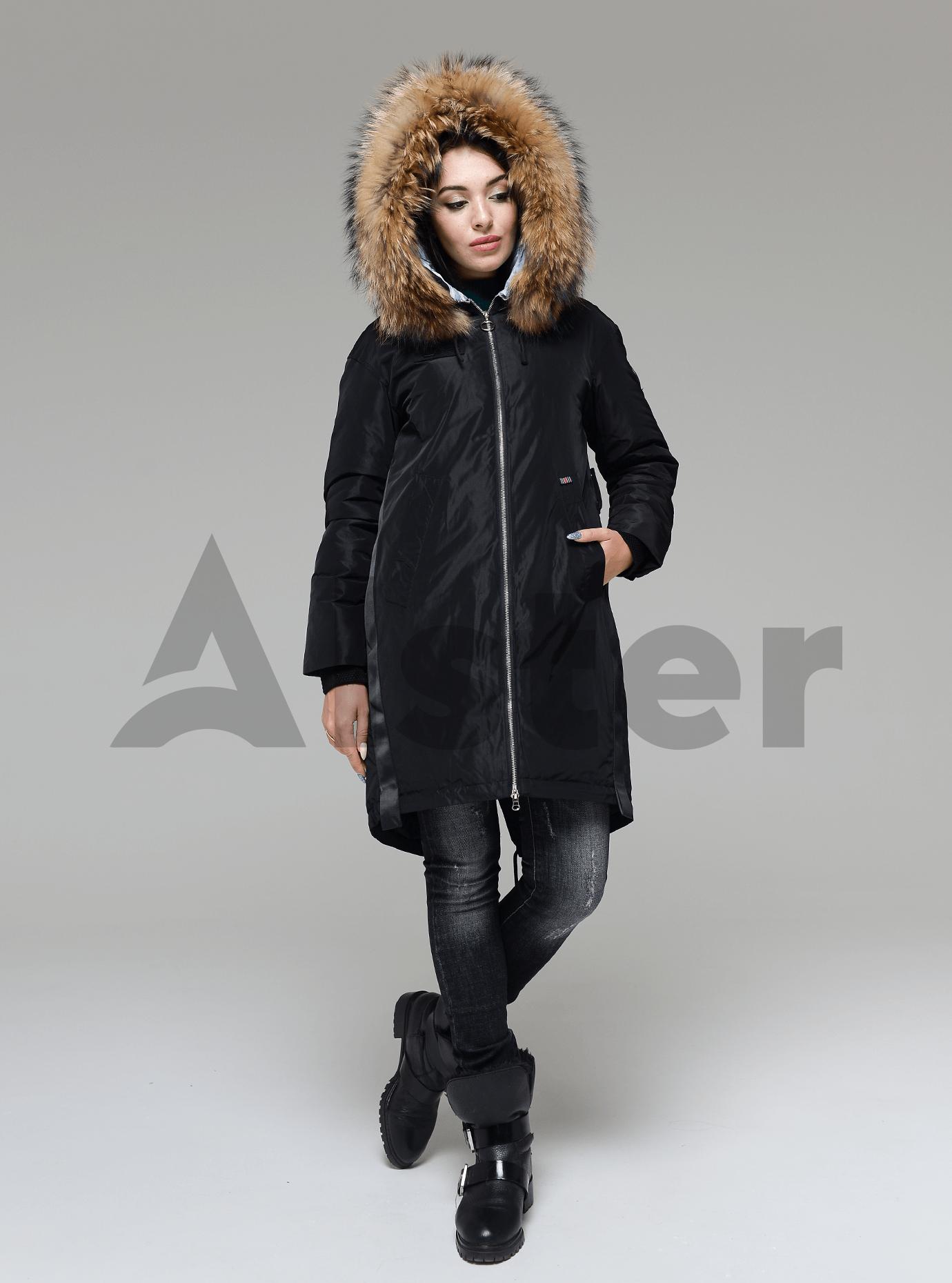 Куртка зимняя длинная с поясом на спине и мехом енота Чёрный L (05-V191237): фото - Alster.ua