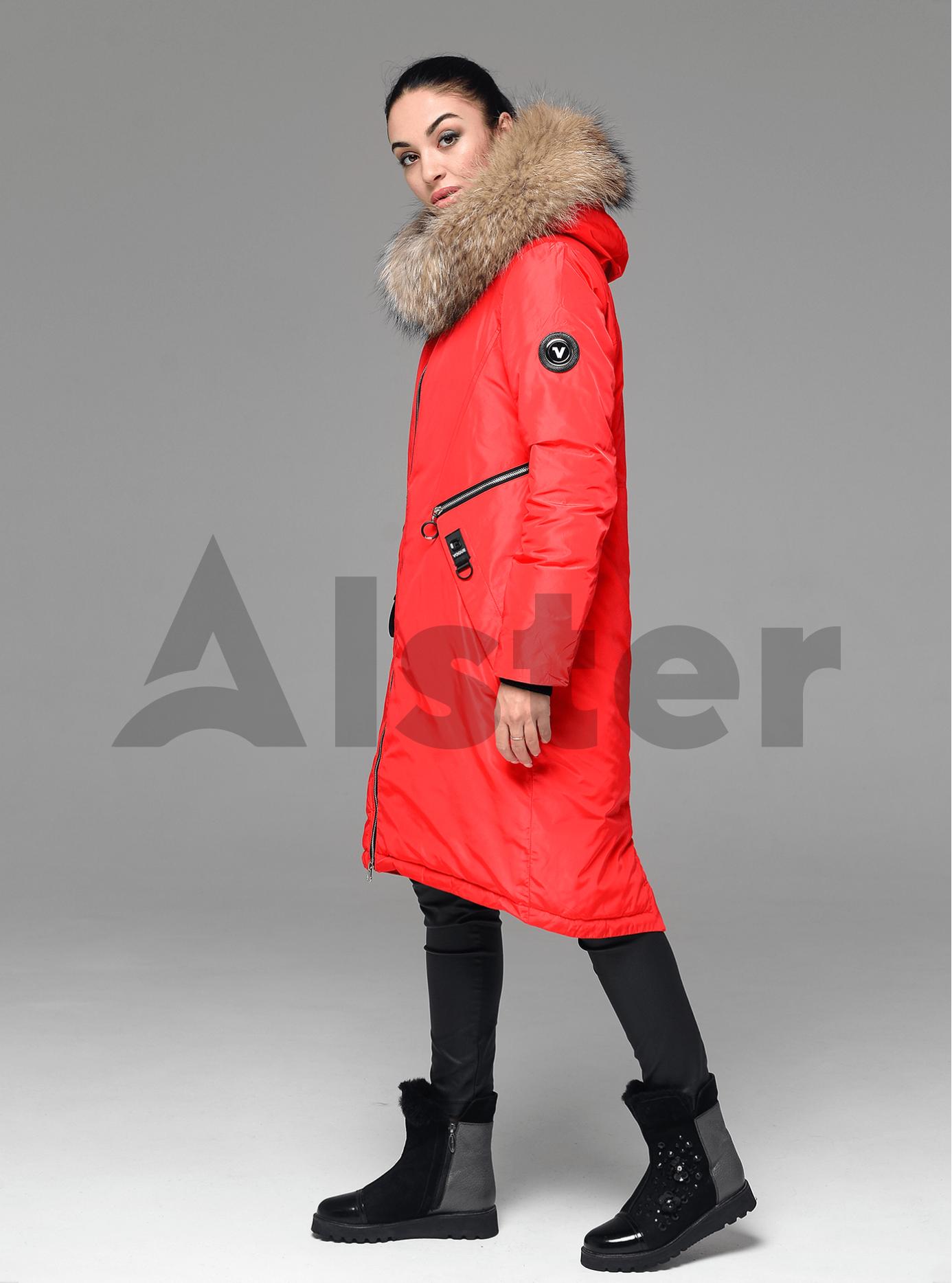 Куртка зимняя длинная прямого кроя с мехом енота Красный XL (05-V191245): фото - Alster.ua