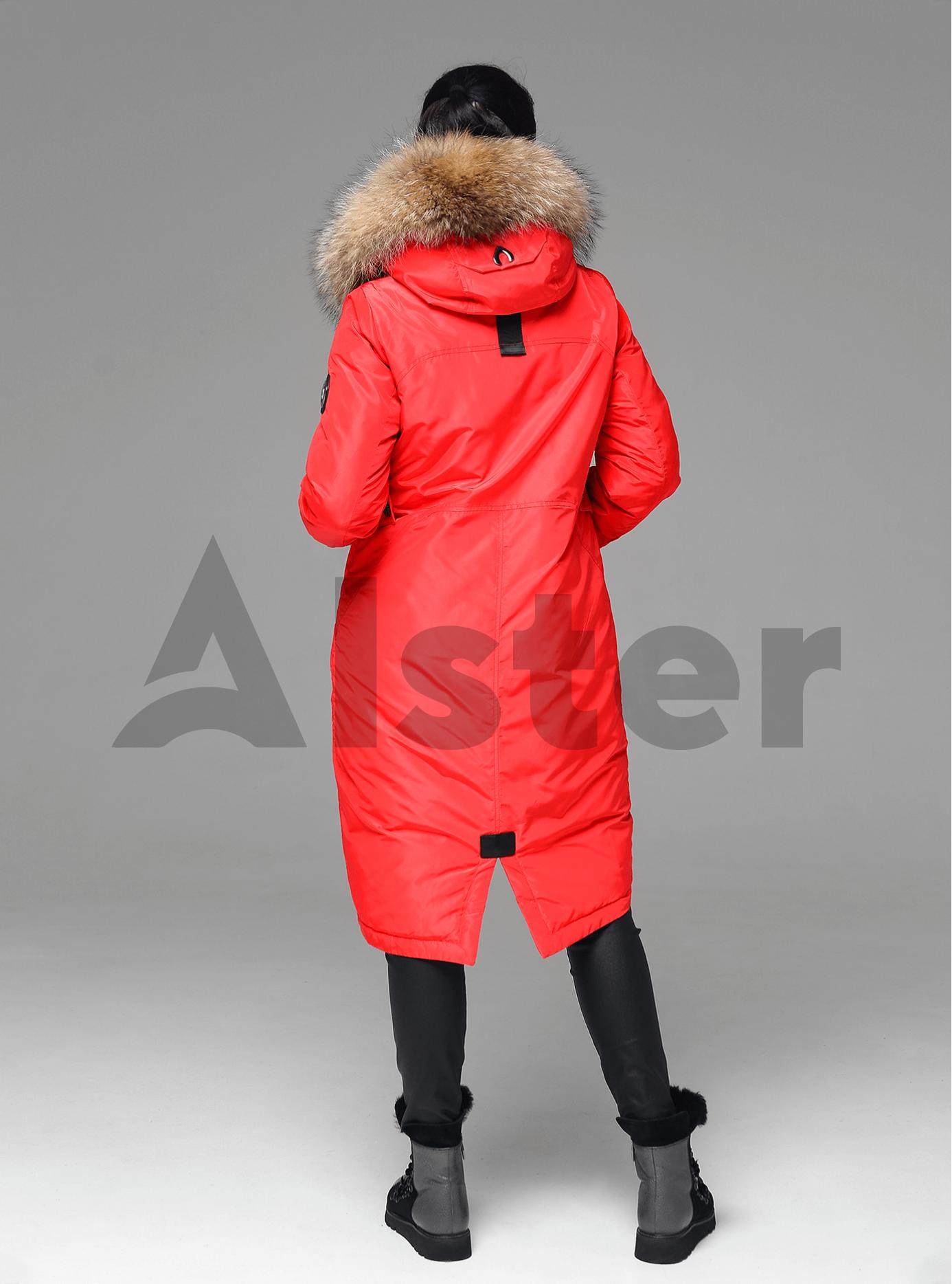 Куртка зимняя длинная прямого кроя с мехом енота Красный L (05-V191244): фото - Alster.ua