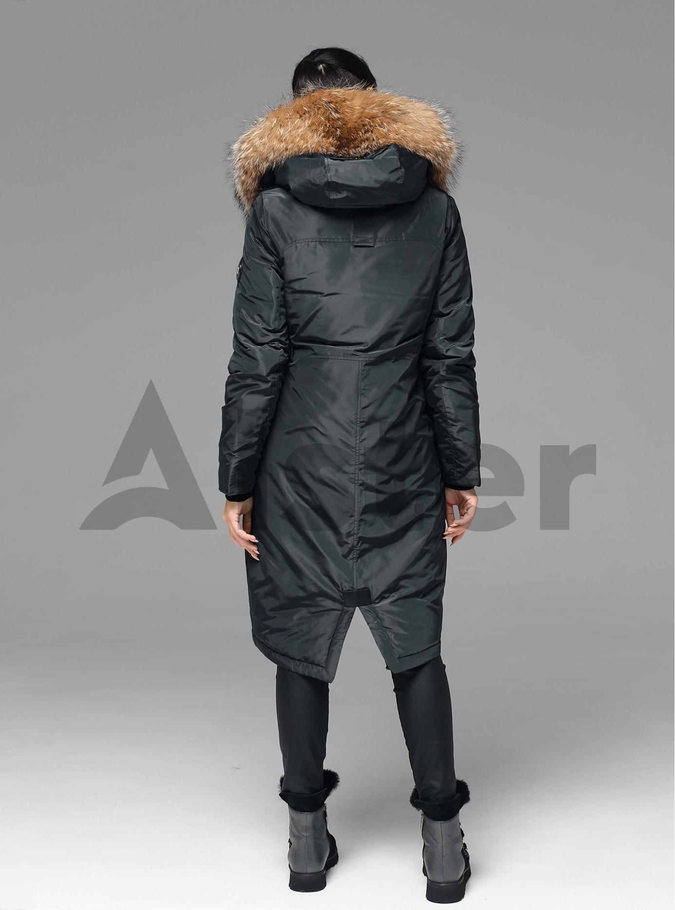 Куртка зимняя длинная прямого кроя с мехом енота Тёмно-зелёный L (05-V191247): фото - Alster.ua