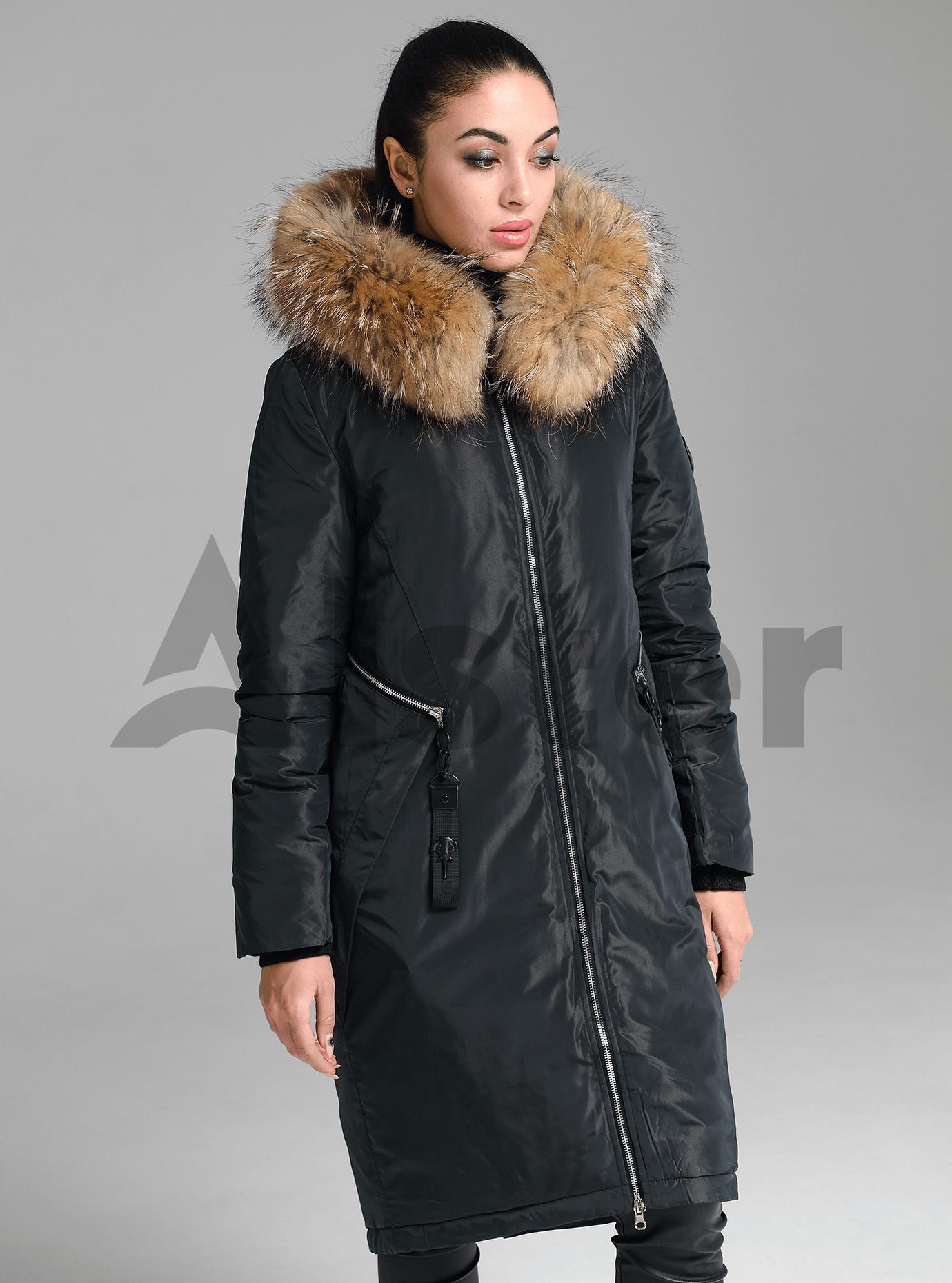 Куртка зимняя длинная прямого кроя с мехом енота Тёмно-зелёный S (05-V191246): фото - Alster.ua