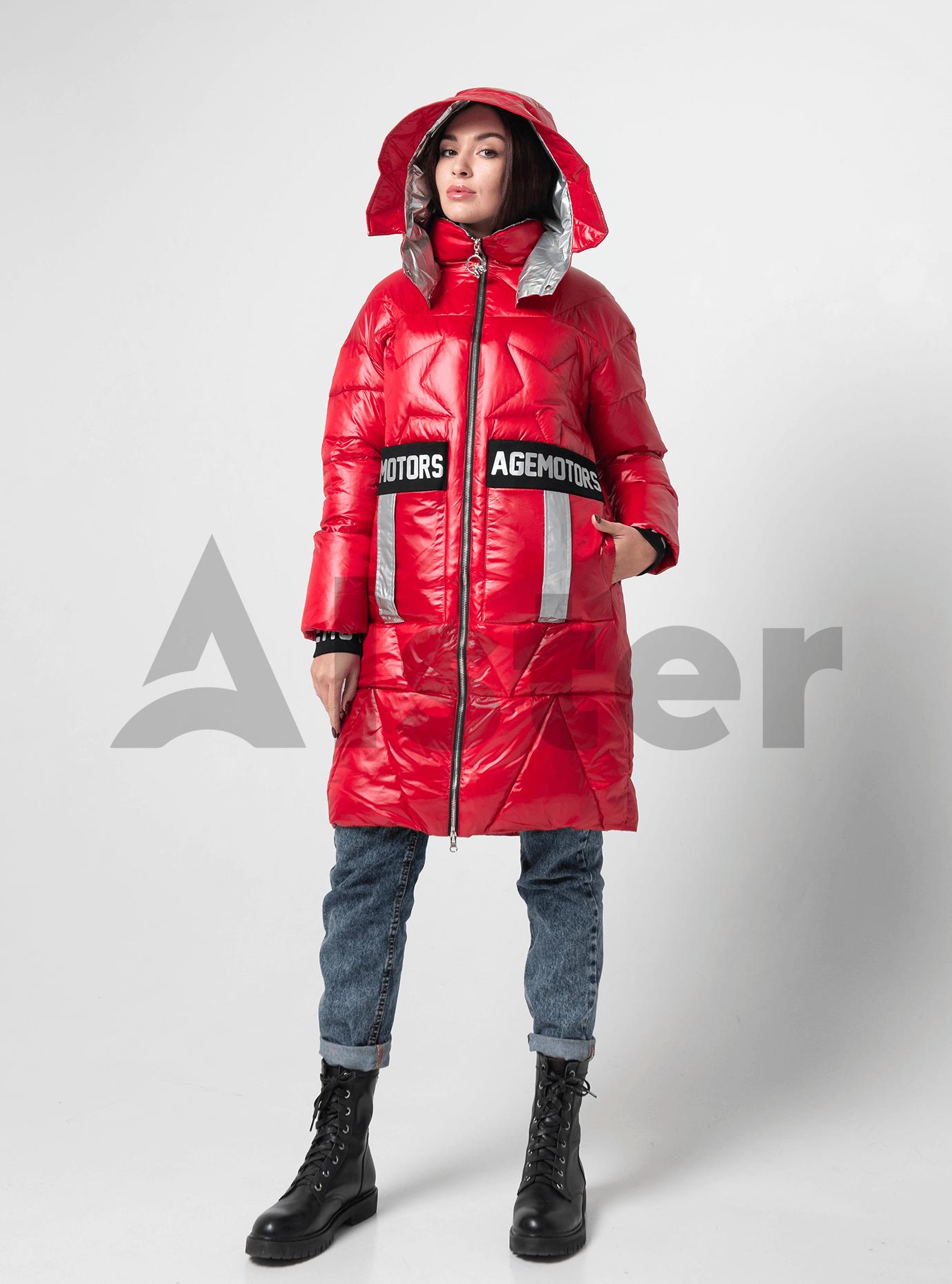Куртка зимняя длинная со звездами Красный S (05-V191115): фото - Alster.ua