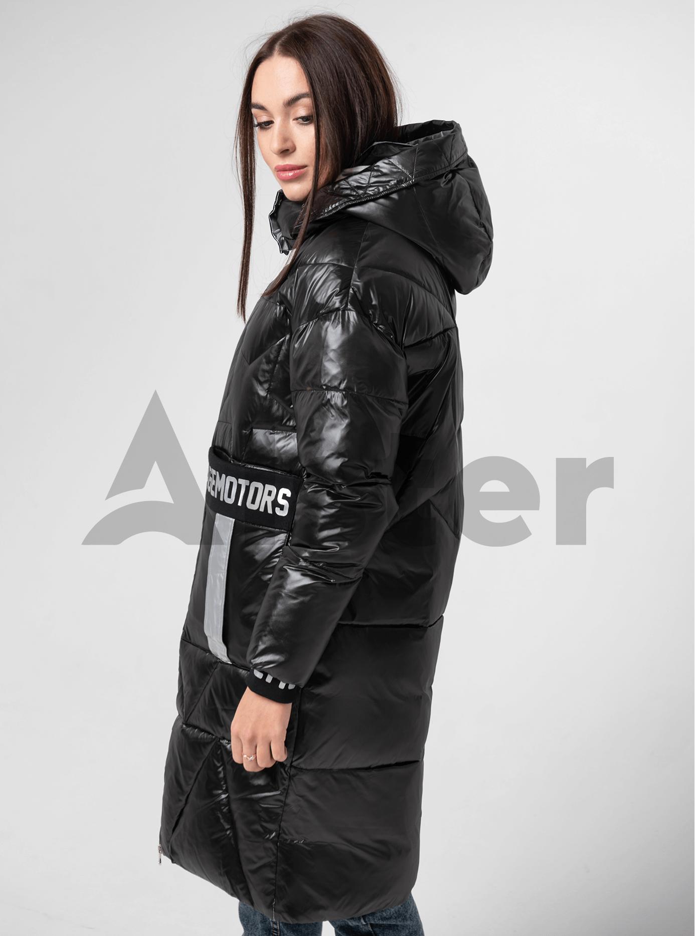 Куртка зимняя длинная со звездами Чёрный S (05-V191111): фото - Alster.ua