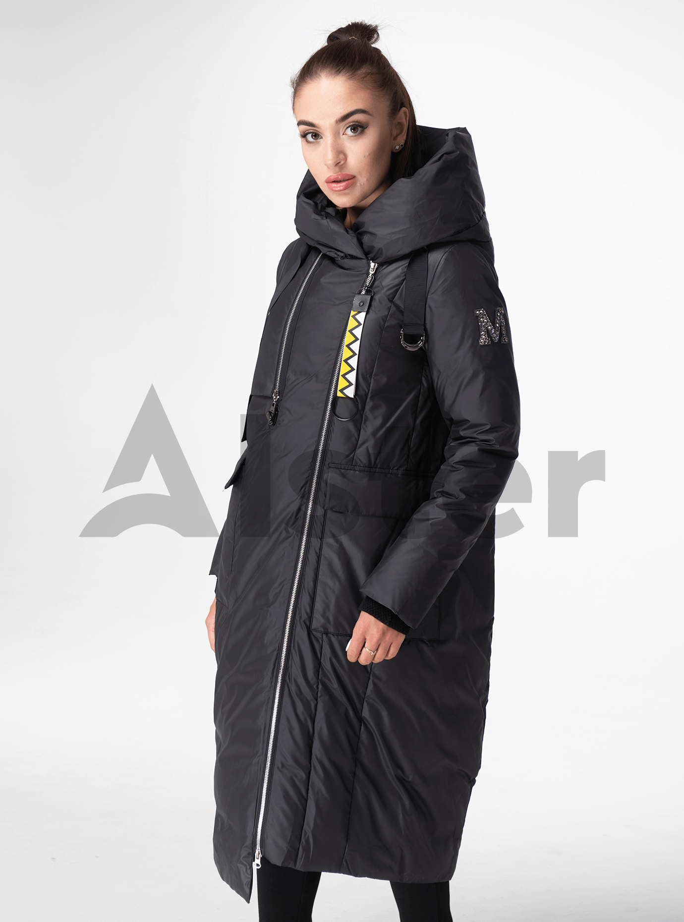 Куртка зимняя длинная с капюшоном Графитовый S (05-V191286): фото - Alster.ua