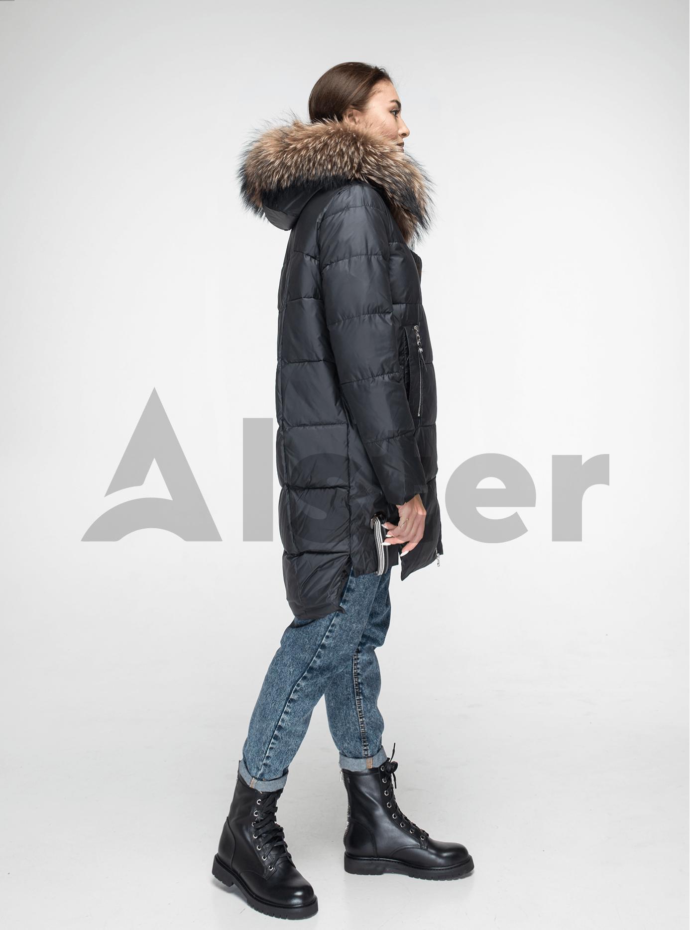 Куртка зимняя с мехом енота Чёрный M (05-V191095): фото - Alster.ua