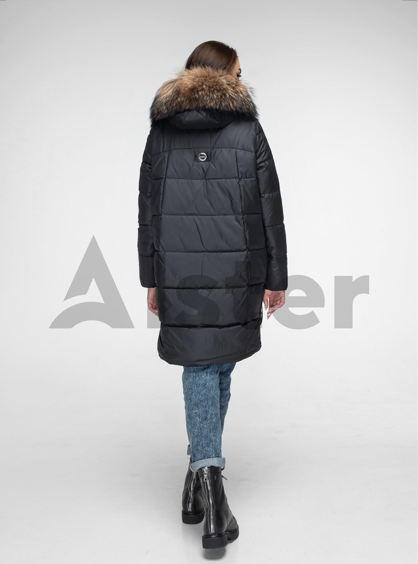 Куртка зимняя с мехом енота Чёрный L (05-V191096): фото - Alster.ua