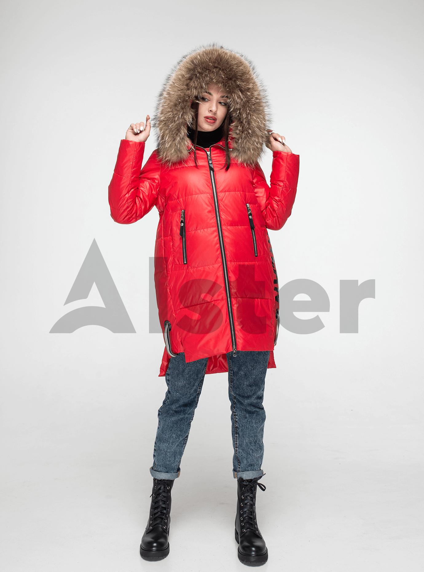 Куртка зимняя с мехом енота Красный M (05-V191099): фото - Alster.ua