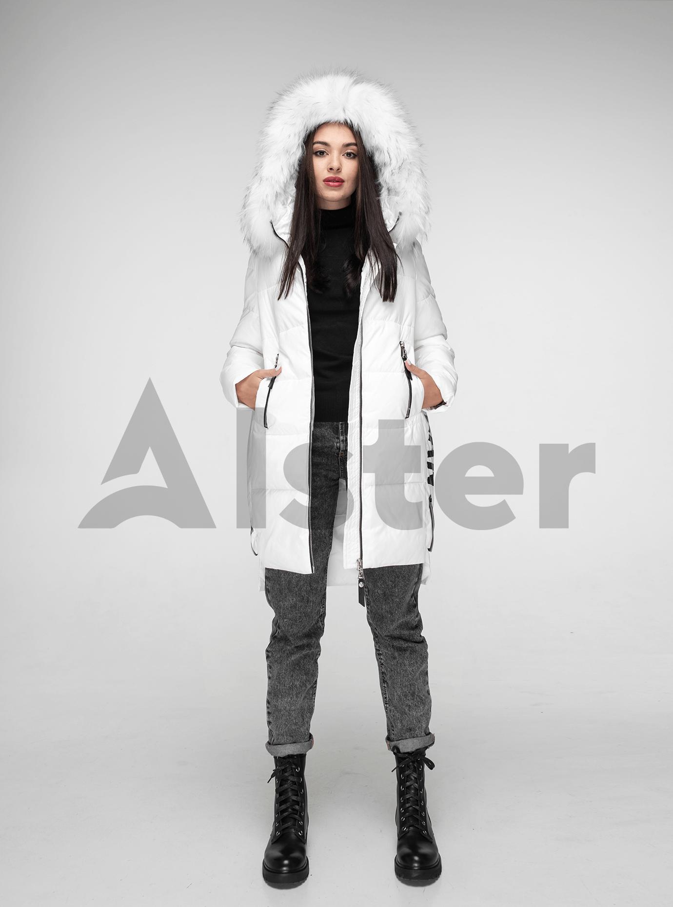 Куртка зимняя с мехом енота Белый XL (05-V191093): фото - Alster.ua