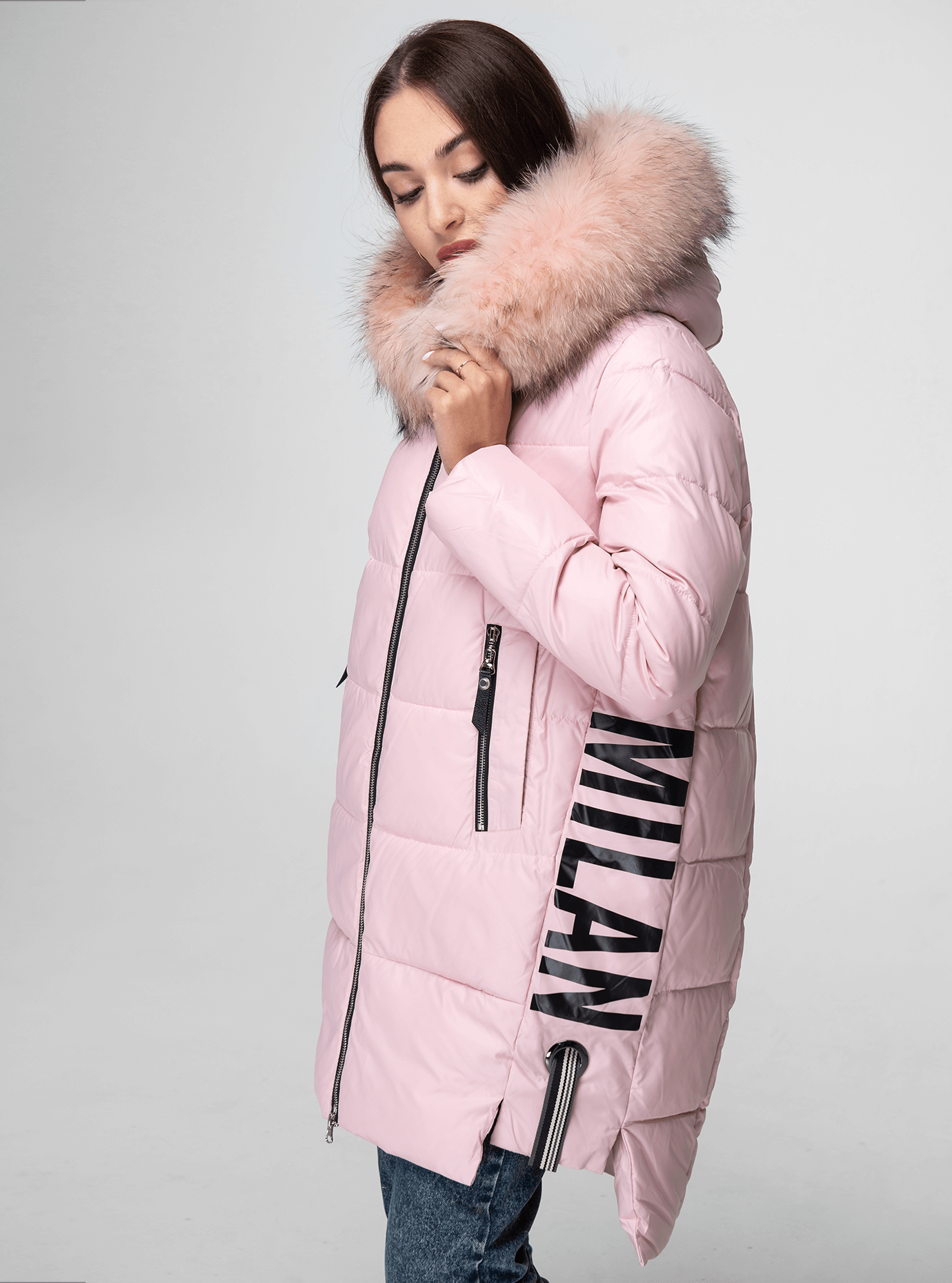 Куртка зимняя с мехом енота Розовый XL (05-V191105): фото - Alster.ua