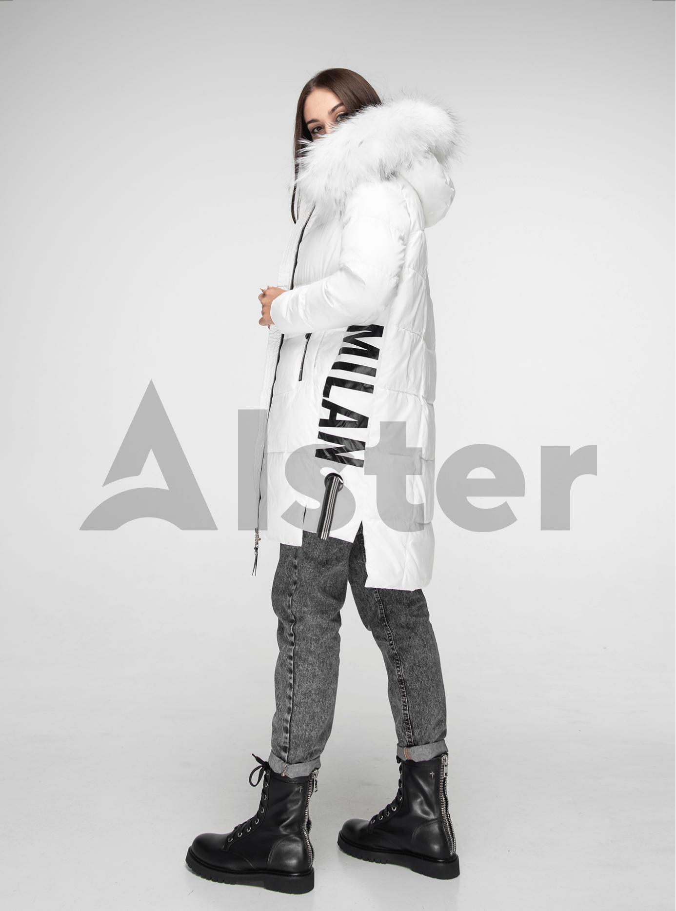 Куртка зимова з хутром єнота Білий S (05-V191090): фото - Alster.ua
