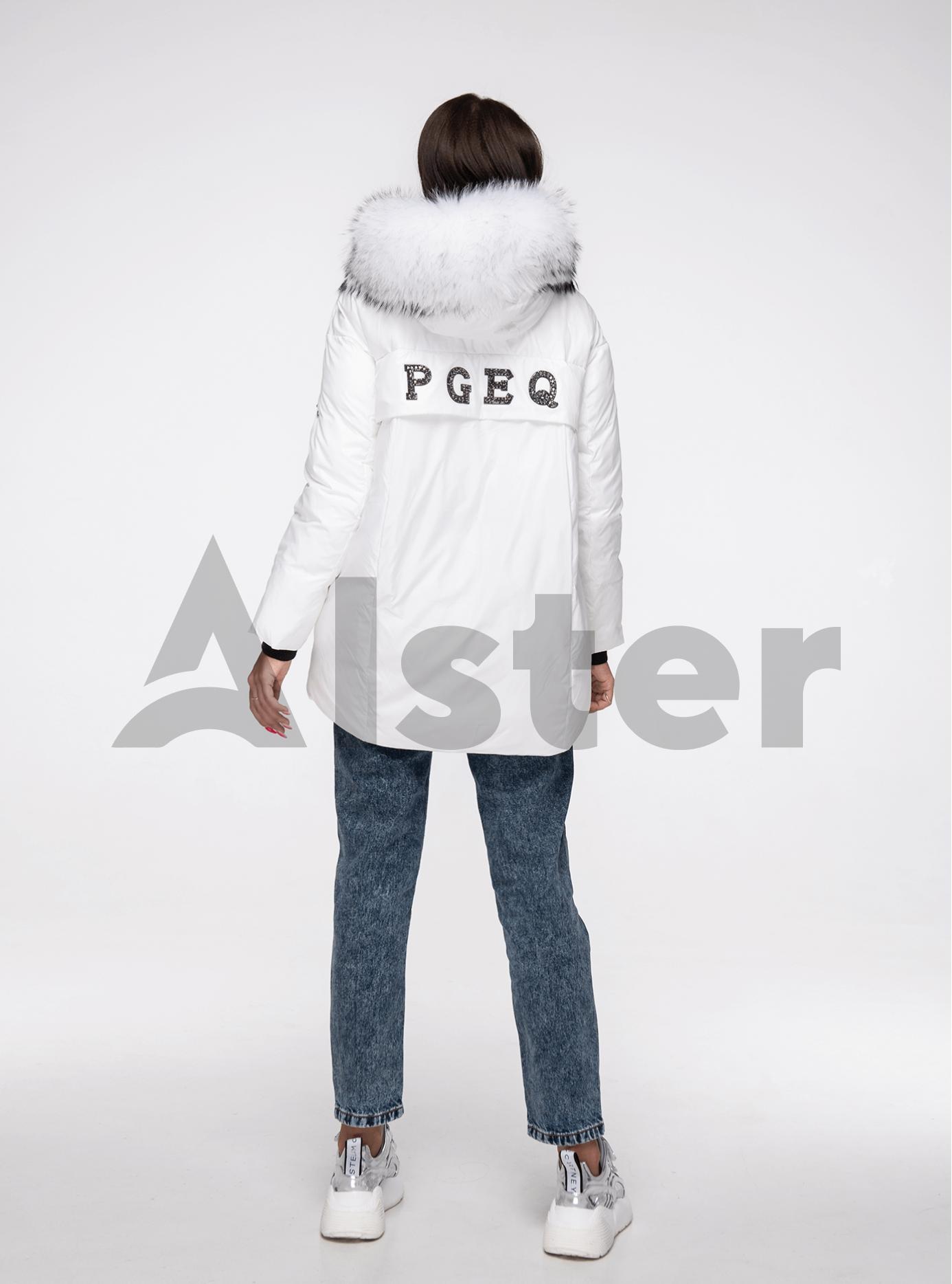 Куртка зимняя с мехом енота Белый S (02-V191096): фото - Alster.ua