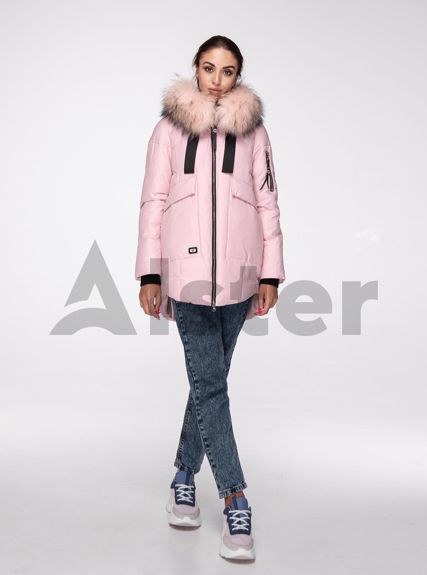Куртка зимняя с мехом енота Розовый M (02-V191093): фото - Alster.ua