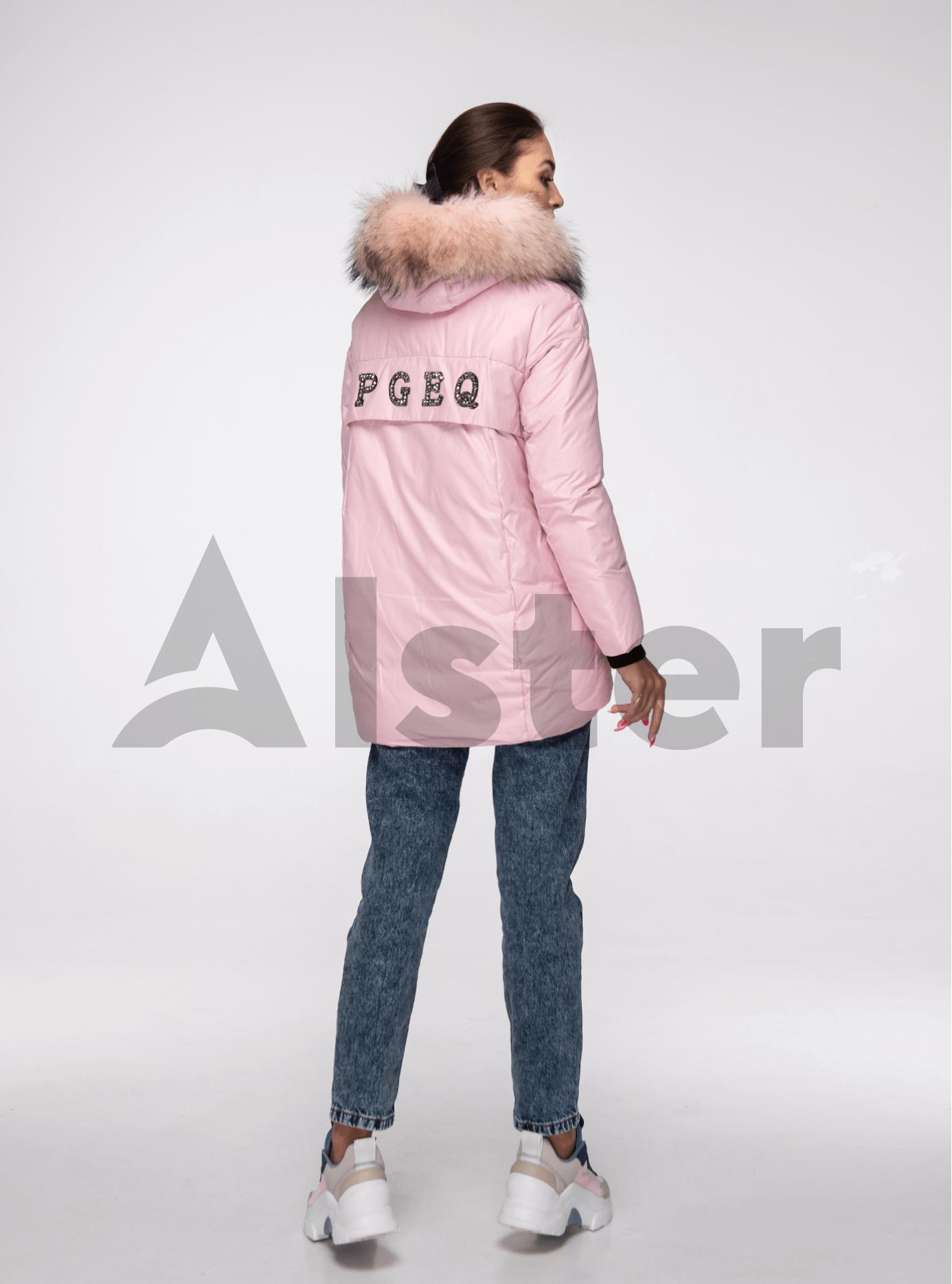 Куртка зимняя с мехом енота Розовый L (02-V191094): фото - Alster.ua