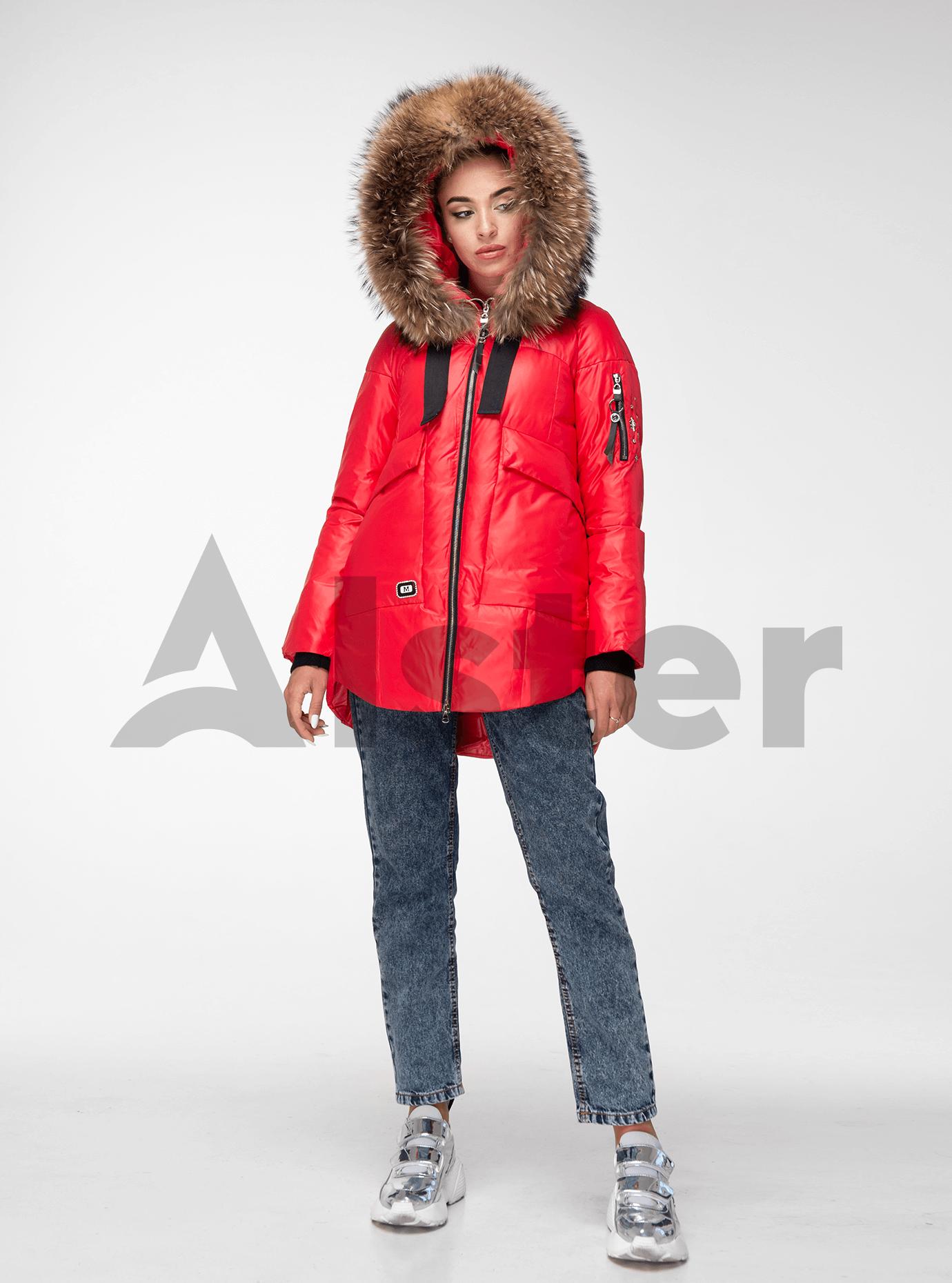 Куртка зимняя с мехом енота Красный L (02-V191091): фото - Alster.ua