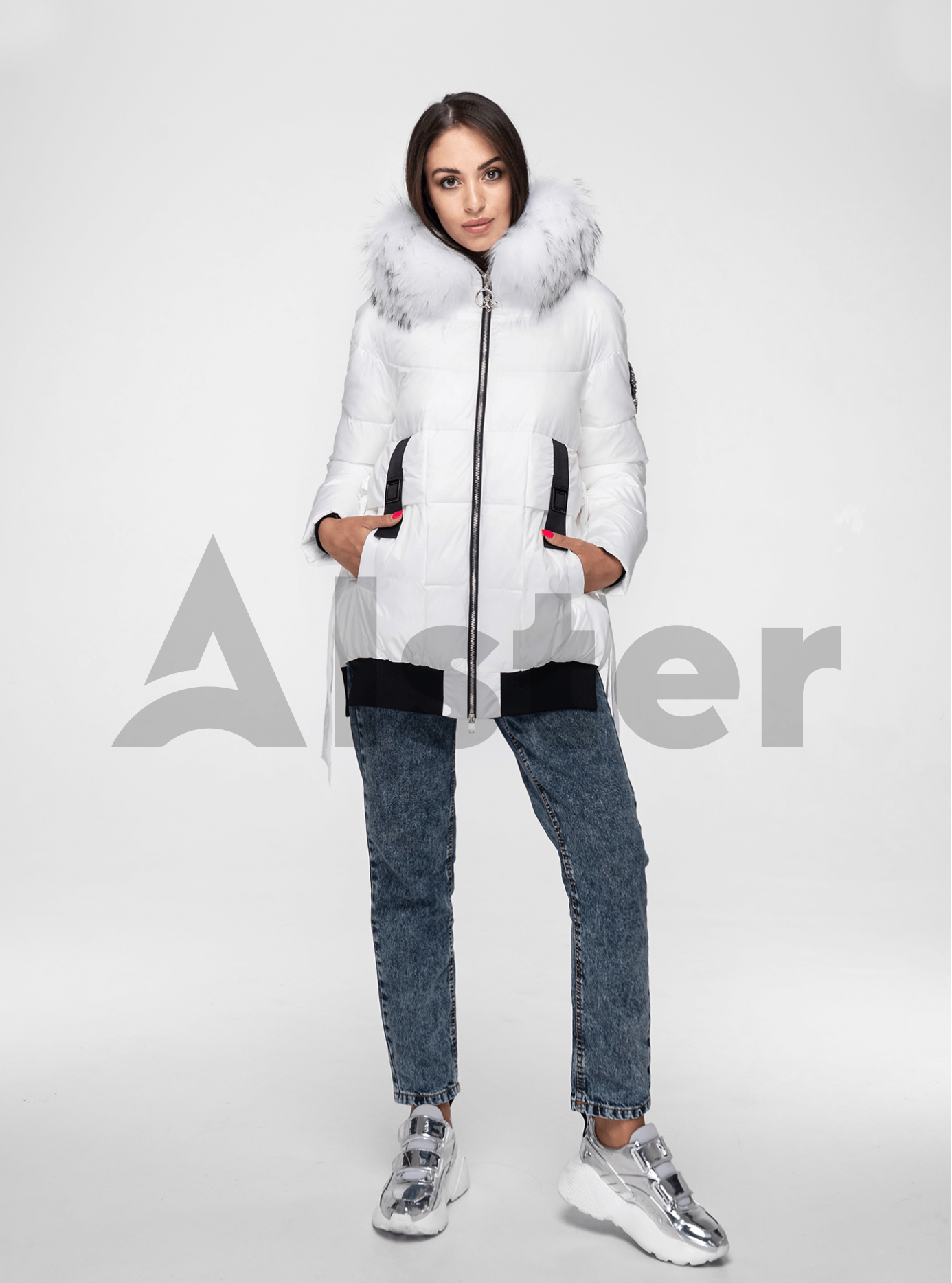 Куртка зимняя с завязками и мехом енота Белый L (02-V191114): фото - Alster.ua