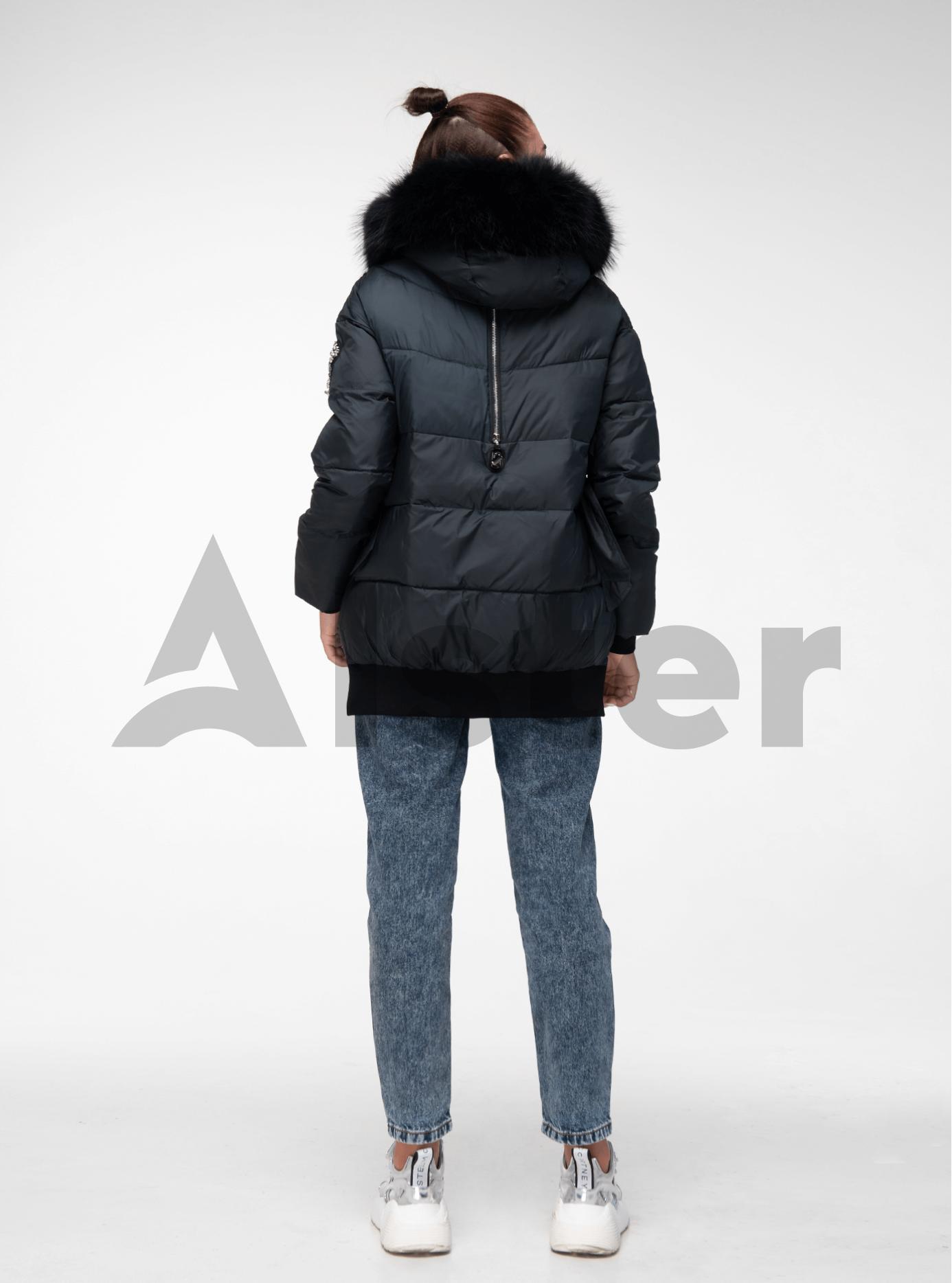Куртка зимняя с завязками и мехом енота Изумрудный M (02-V191105): фото - Alster.ua