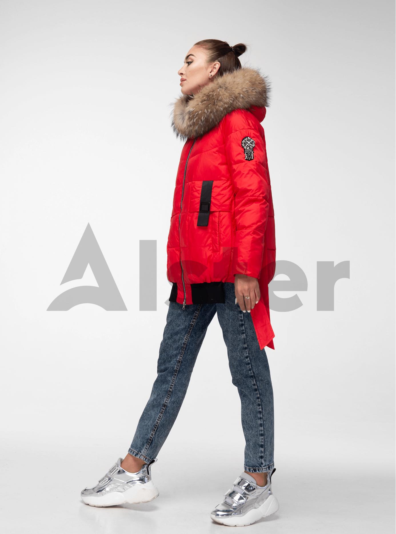 Куртка зимняя с завязками и мехом енота Красный M (02-V191109): фото - Alster.ua