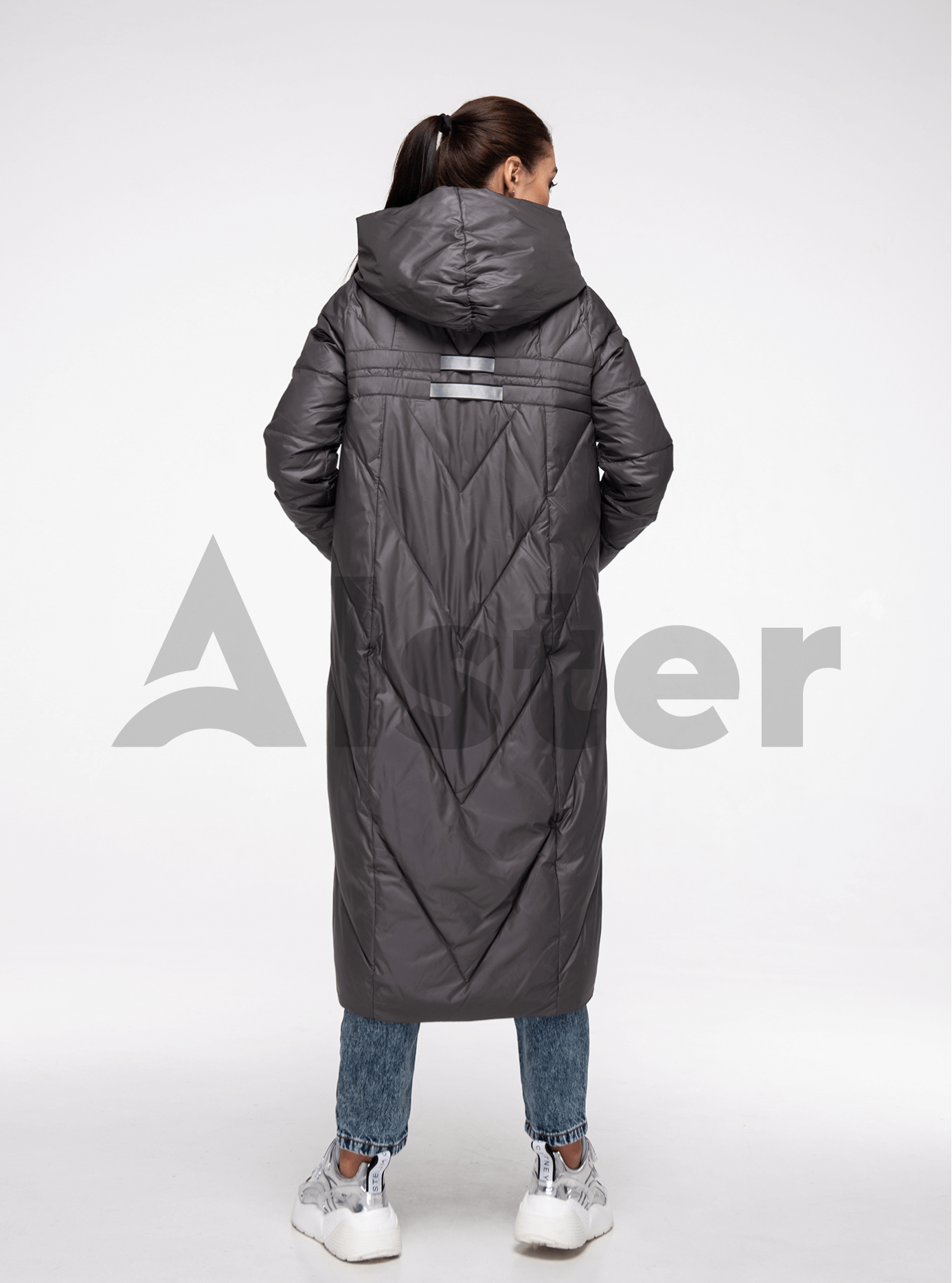 Куртка зимняя длинная прямого фасона Графитовый XL (05-V191179): фото - Alster.ua