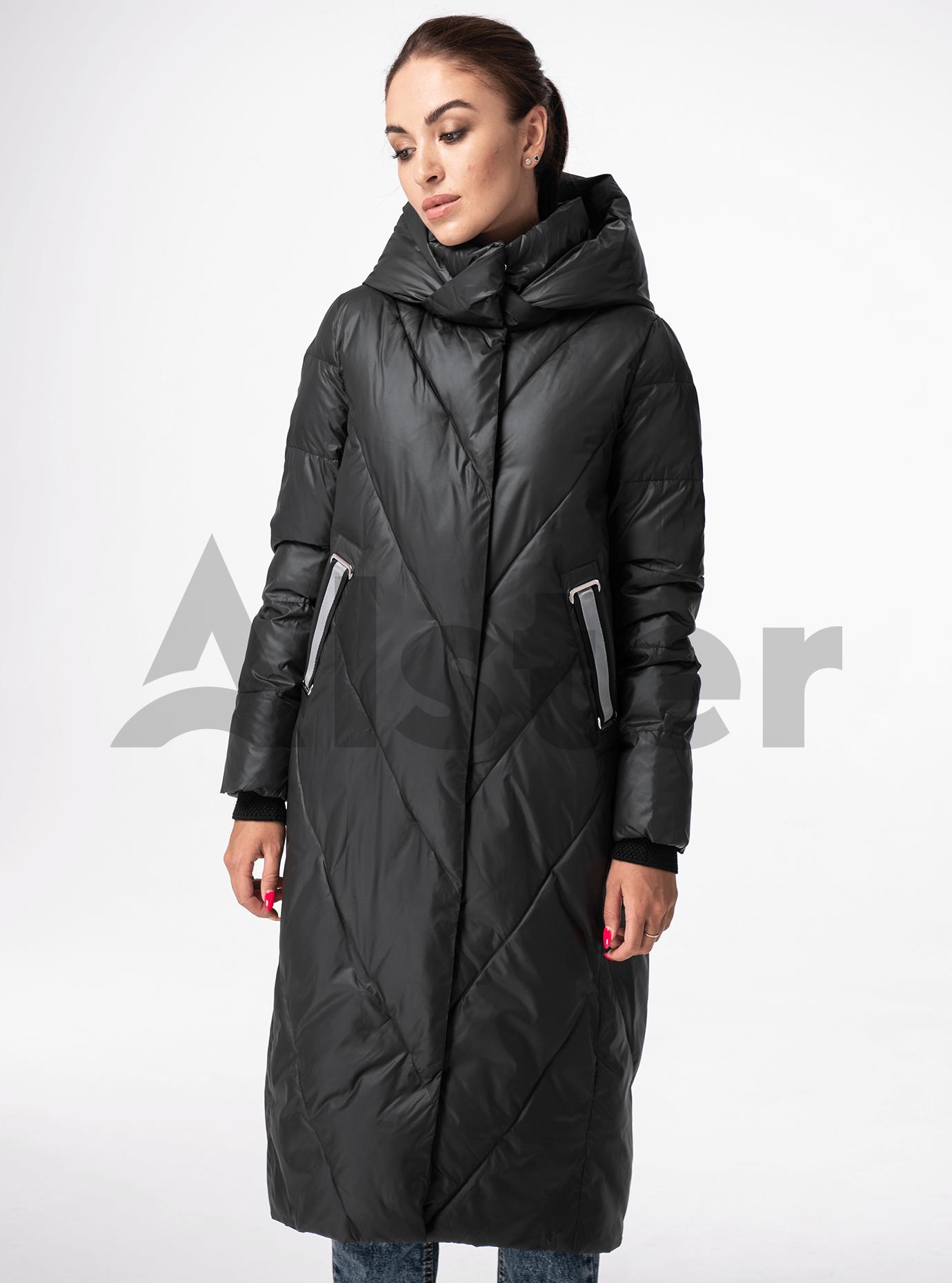 Куртка зимняя длинная прямого фасона Тёмно-серый XL (05-V191183): фото - Alster.ua