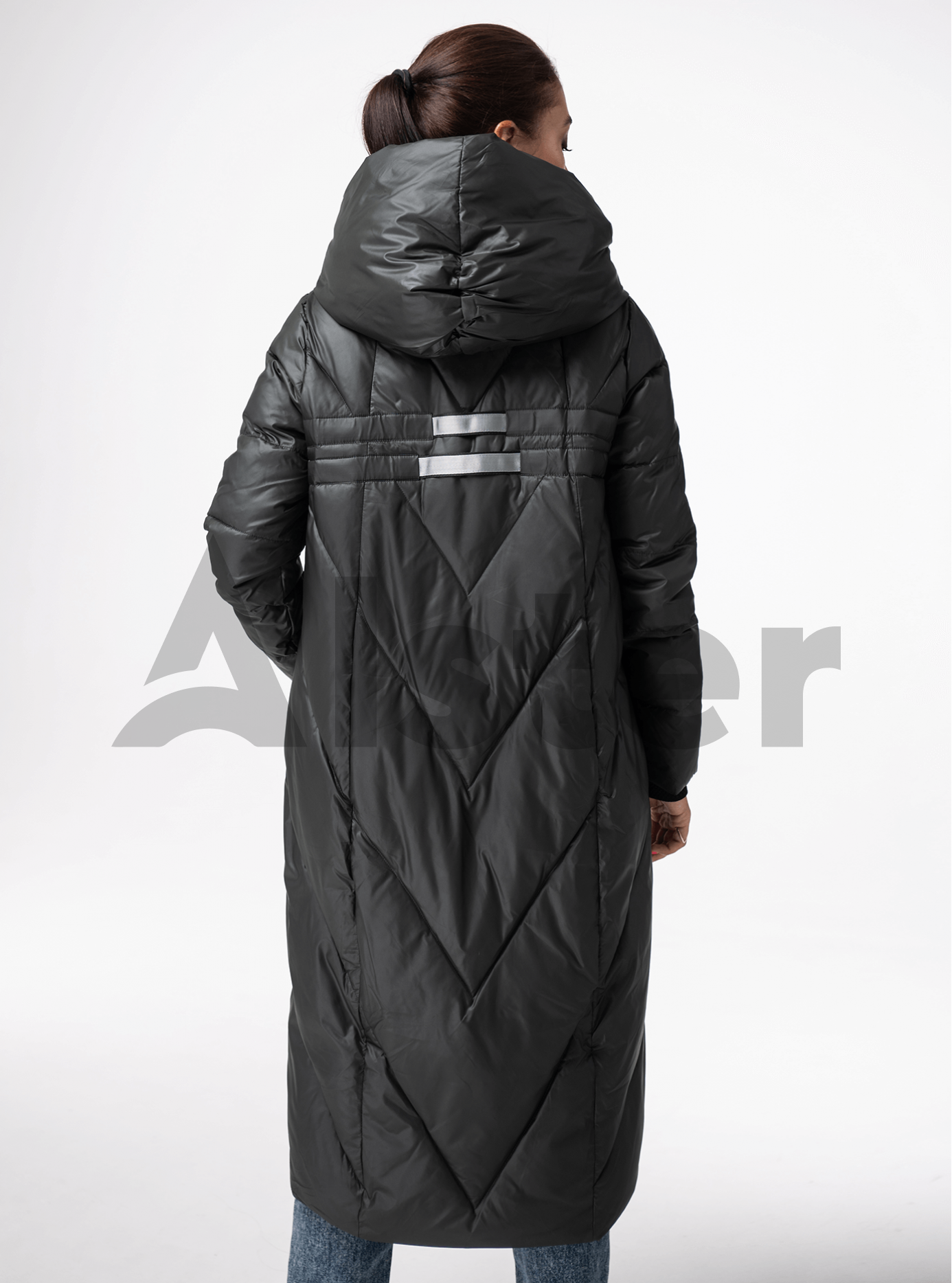 Куртка зимняя длинная прямого фасона Тёмно-серый L (05-V191182): фото - Alster.ua