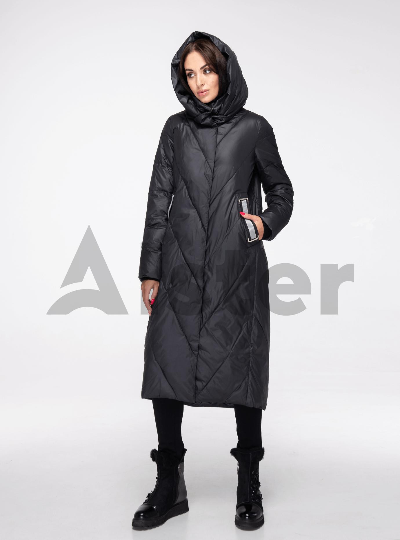 Куртка зимняя длинная прямого фасона Чёрный XL (05-V191175): фото - Alster.ua