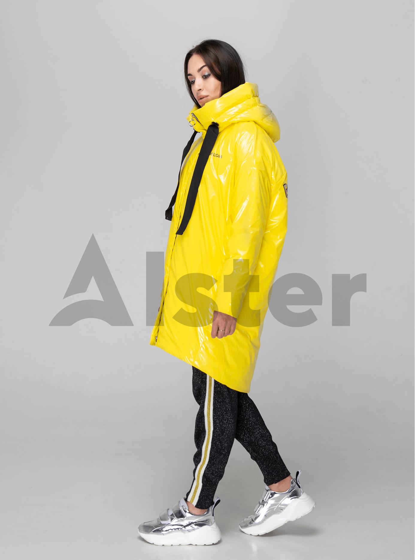 Куртка зимняя длинная с объемными рукавами Жёлтый M (02-V191117): фото - Alster.ua