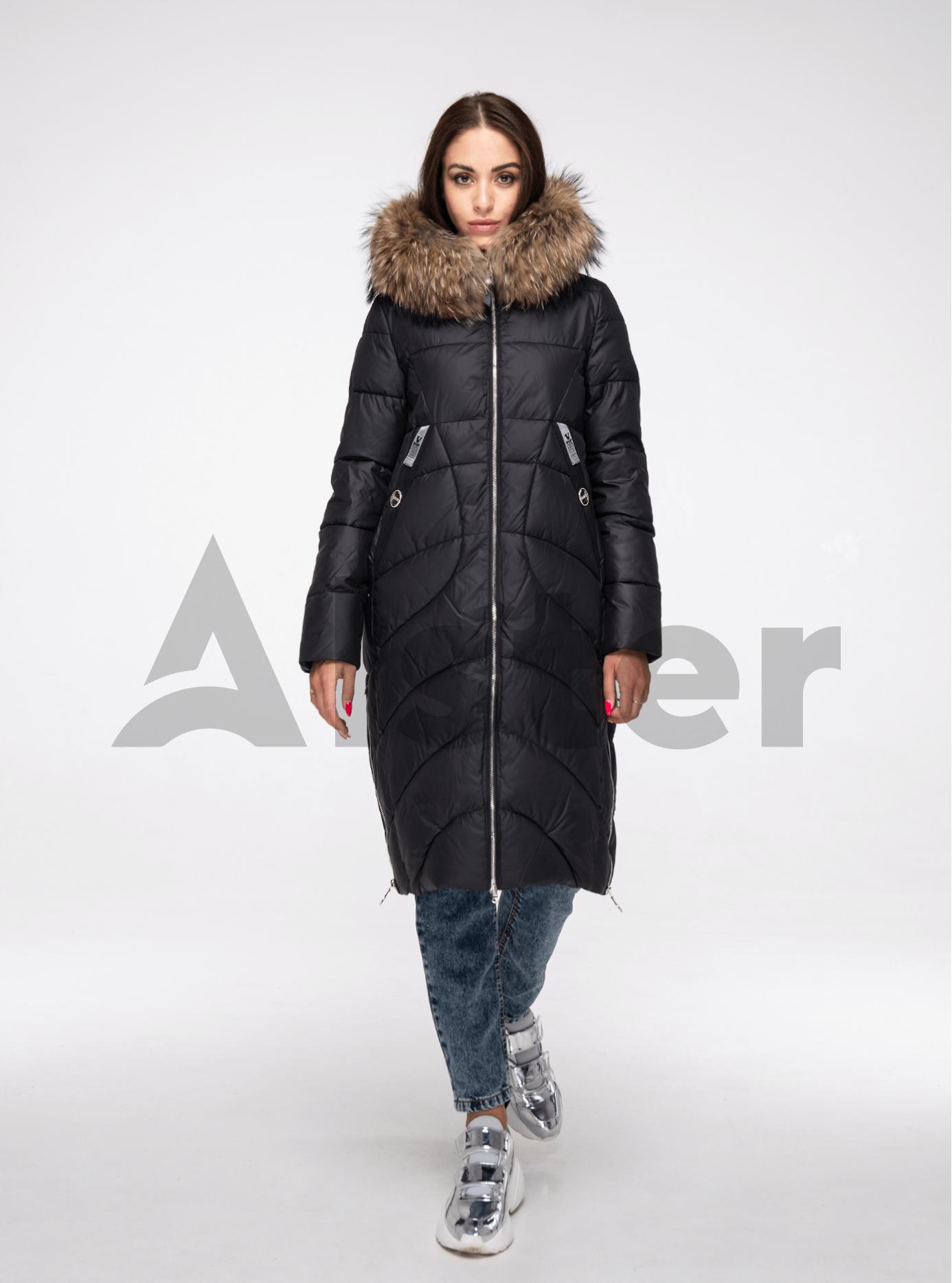 Куртка зимняя длинная с мехом енота Чёрный S (05-V191184): фото - Alster.ua