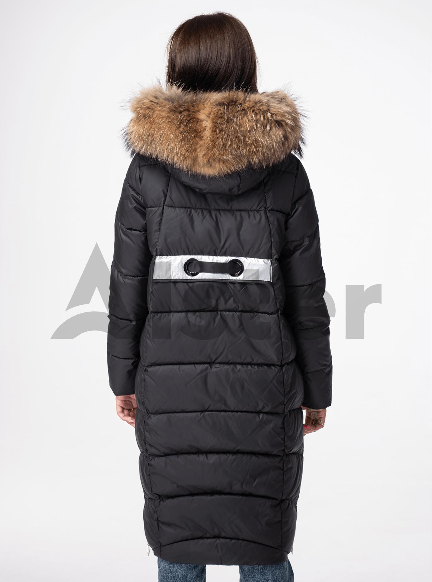 Куртка зимняя длинная с мехом енота Чёрный XL (05-V191187): фото - Alster.ua