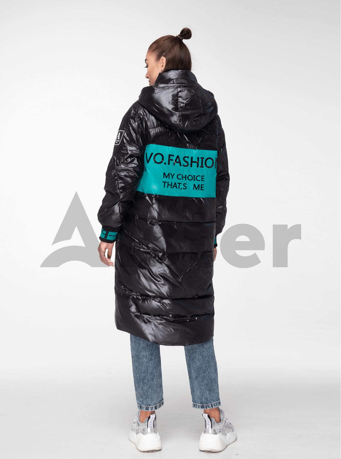 Куртка зимняя длинная с цветными манжетами Чёрно-бирюзовый L (05-V191144): фото - Alster.ua