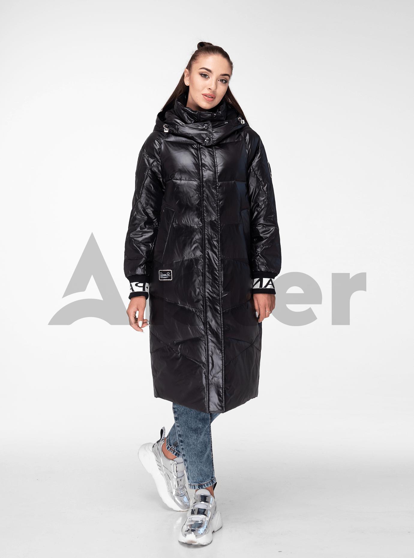 Куртка зимняя длинная с цветными манжетами Чёрно-белый L (05-V191136): фото - Alster.ua