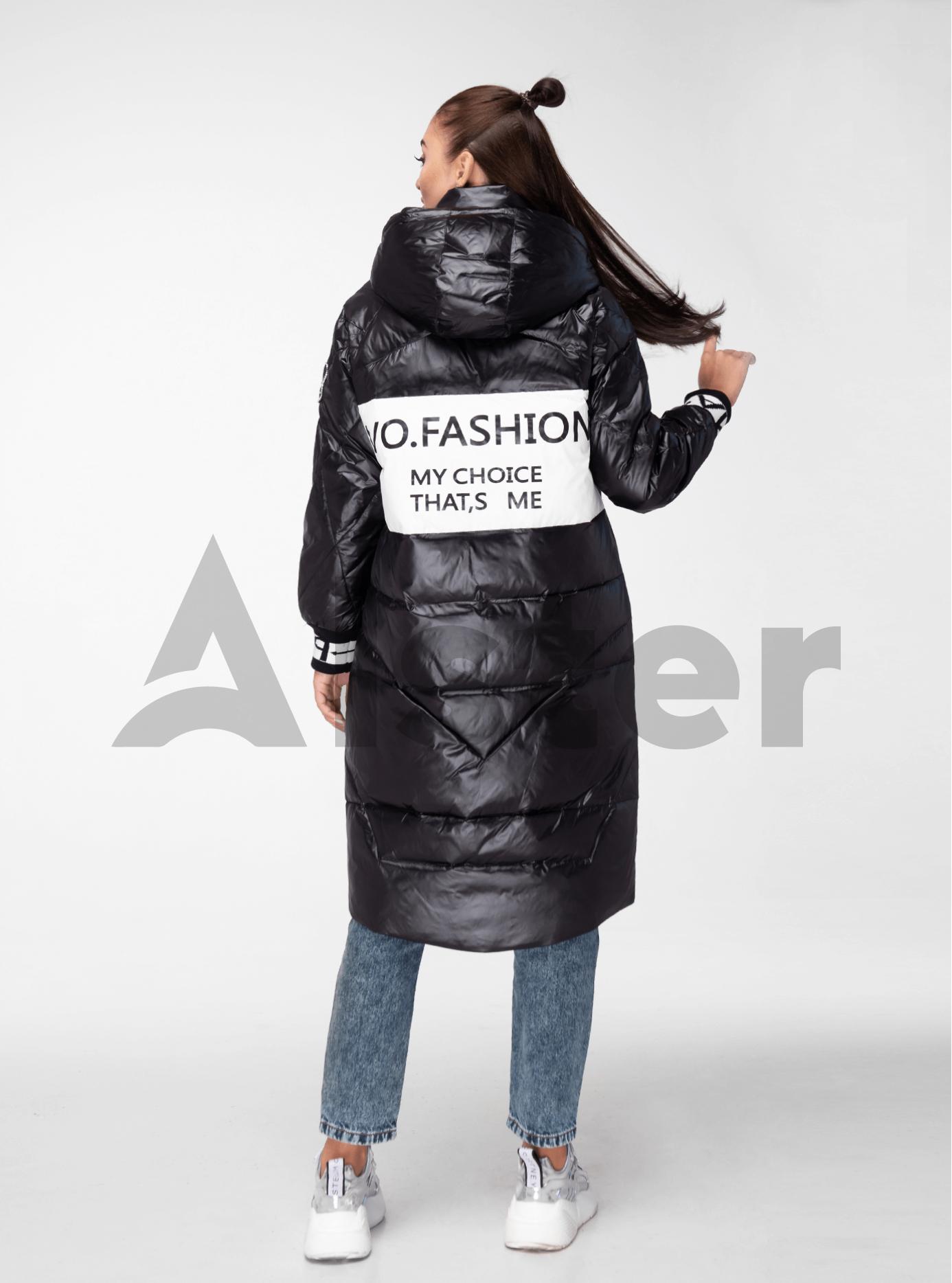 Куртка зимняя длинная с цветными манжетами Чёрно-белый S (05-V191134): фото - Alster.ua