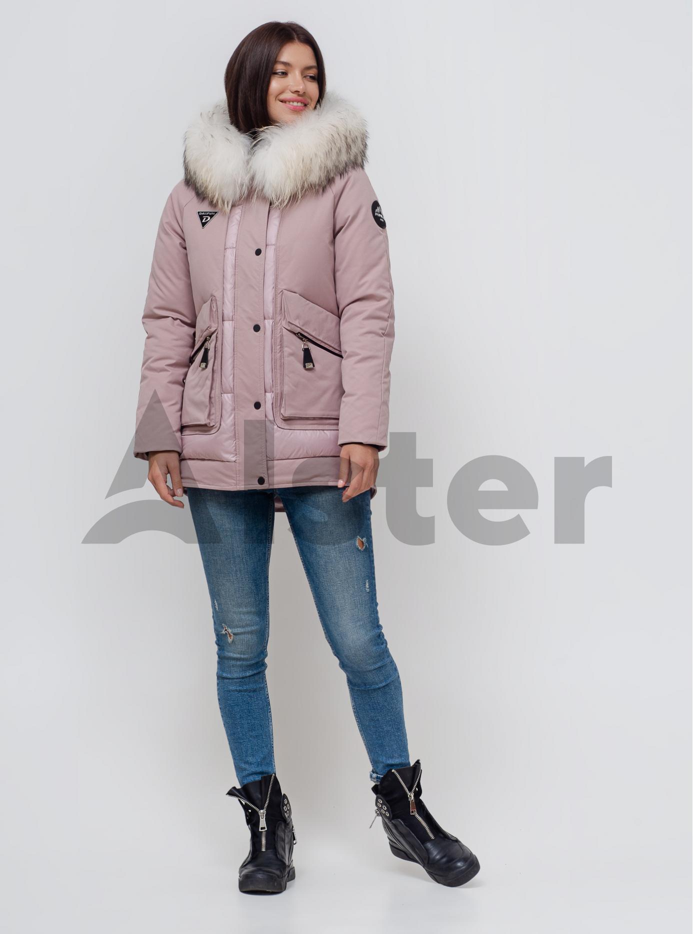 Пуховик зимний с мехом енота Красный S (02-N200405): фото - Alster.ua