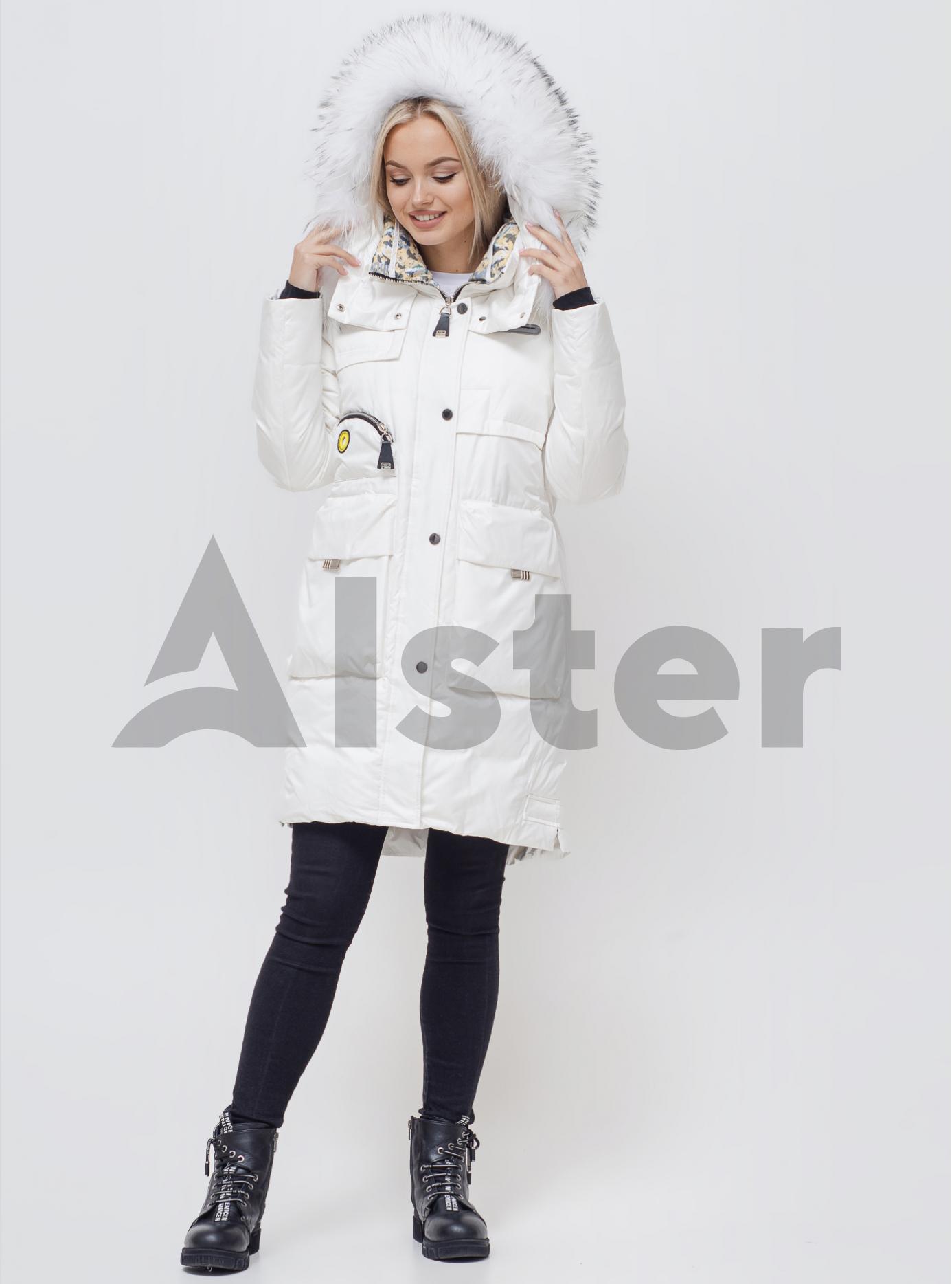 Куртка зимова з хутром єнота Білий XL (01-210108): фото - Alster.ua