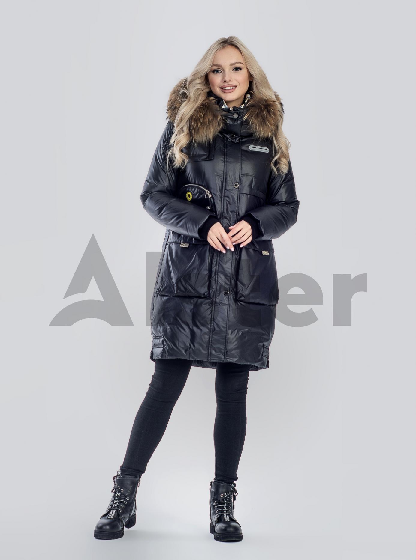 Куртка зимова з хутром єнота Чорний S (01-210101): фото - Alster.ua